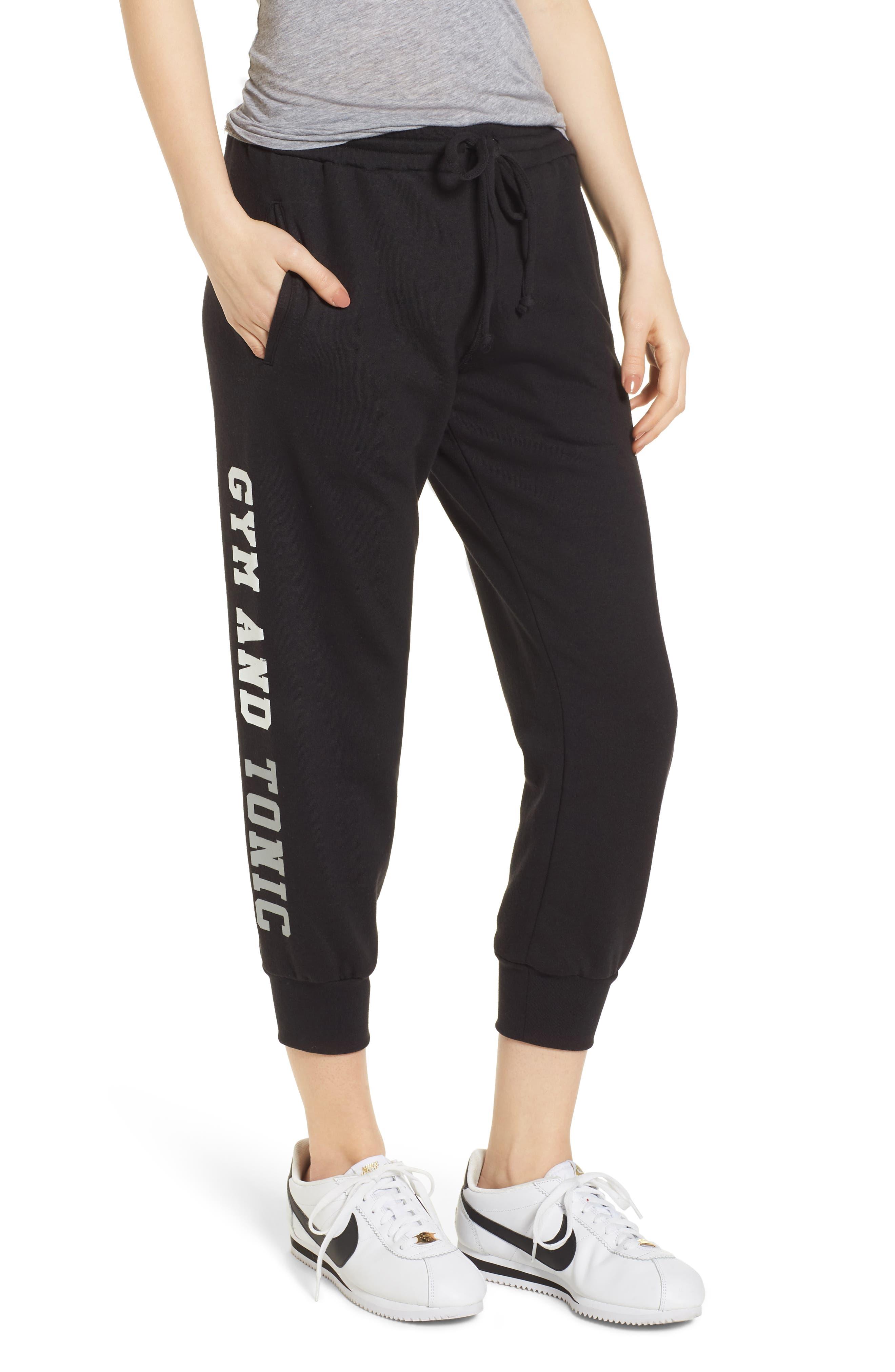 Gym & Tonic Crop Sweatpants,                             Main thumbnail 1, color,                             Black