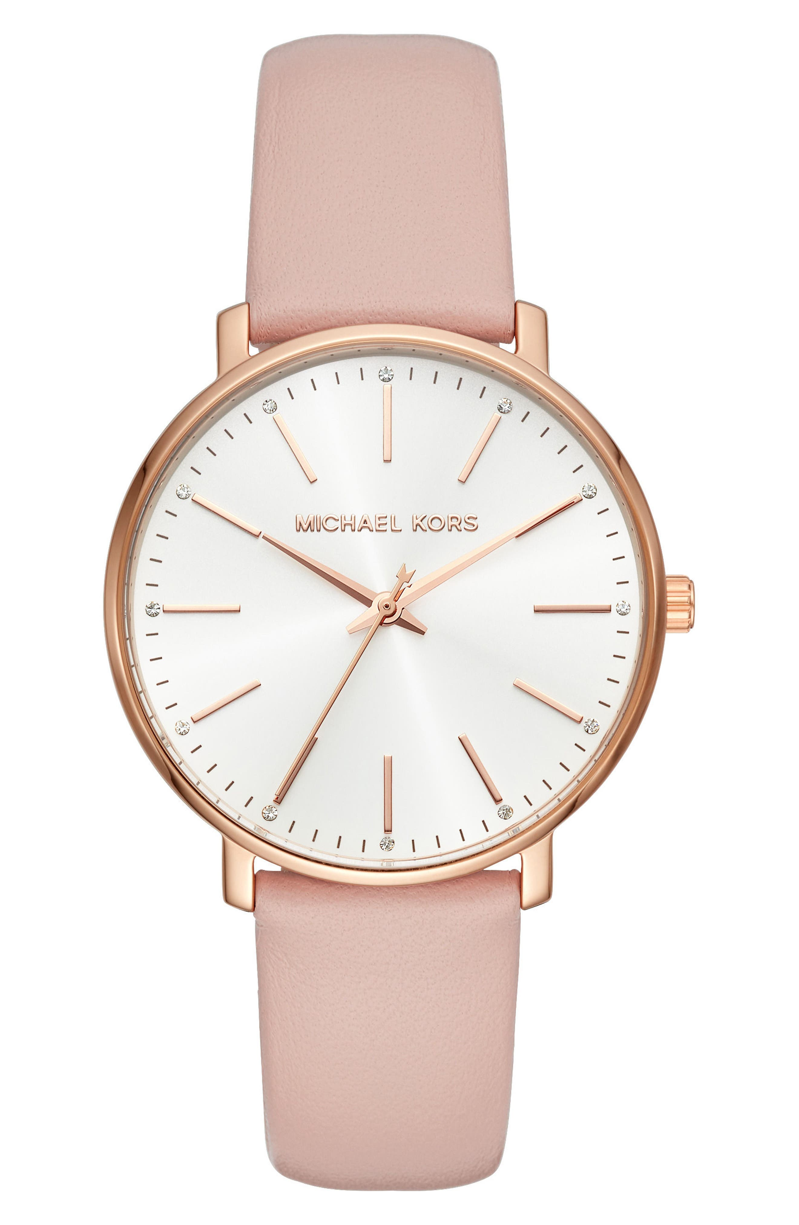 Pyper Leather Strap Watch, 38mm,                             Main thumbnail 1, color,                             Pink/ Gold