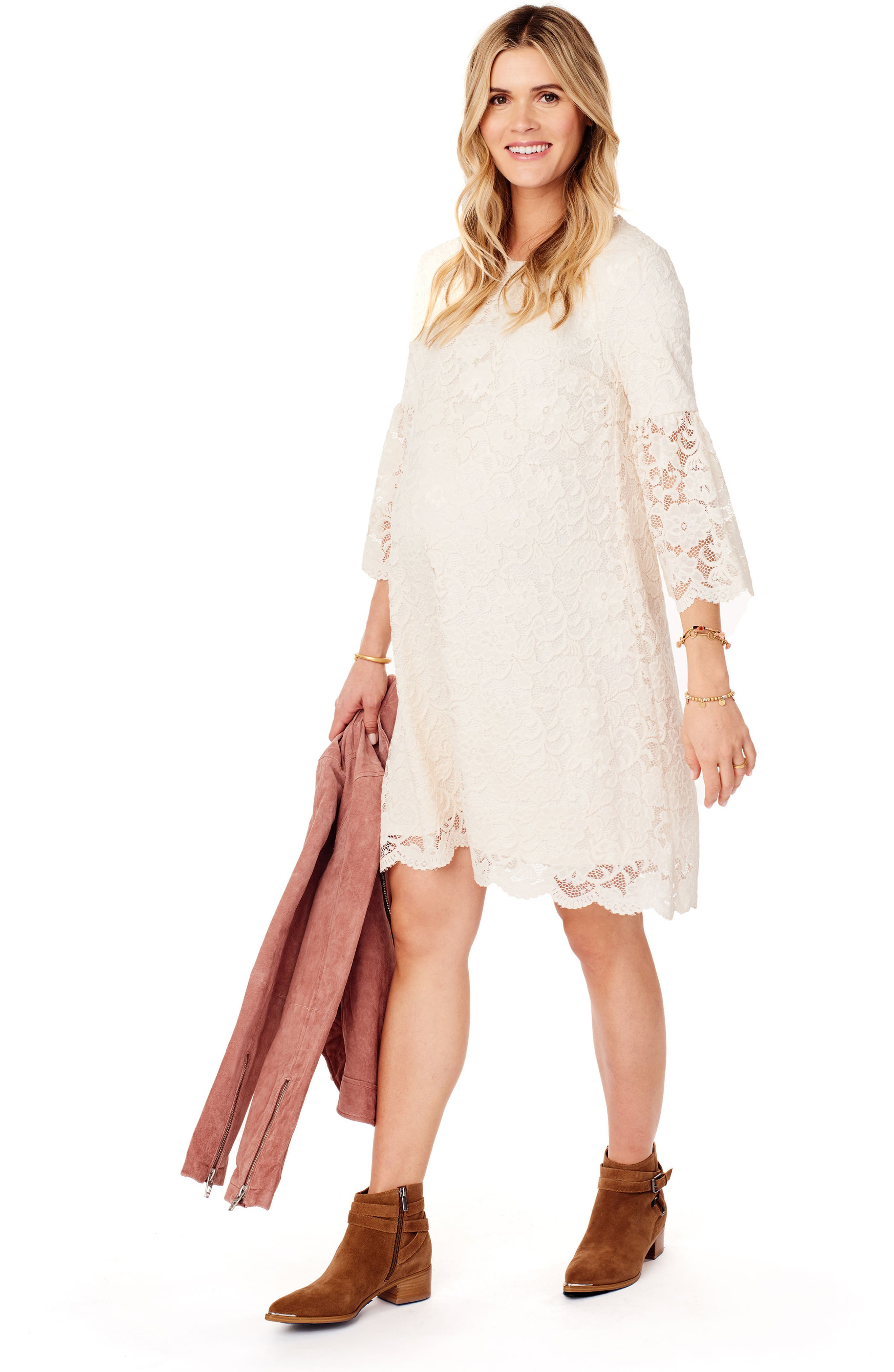 Lace Bell Sleeve Maternity Dress,                             Alternate thumbnail 4, color,                             Ivory
