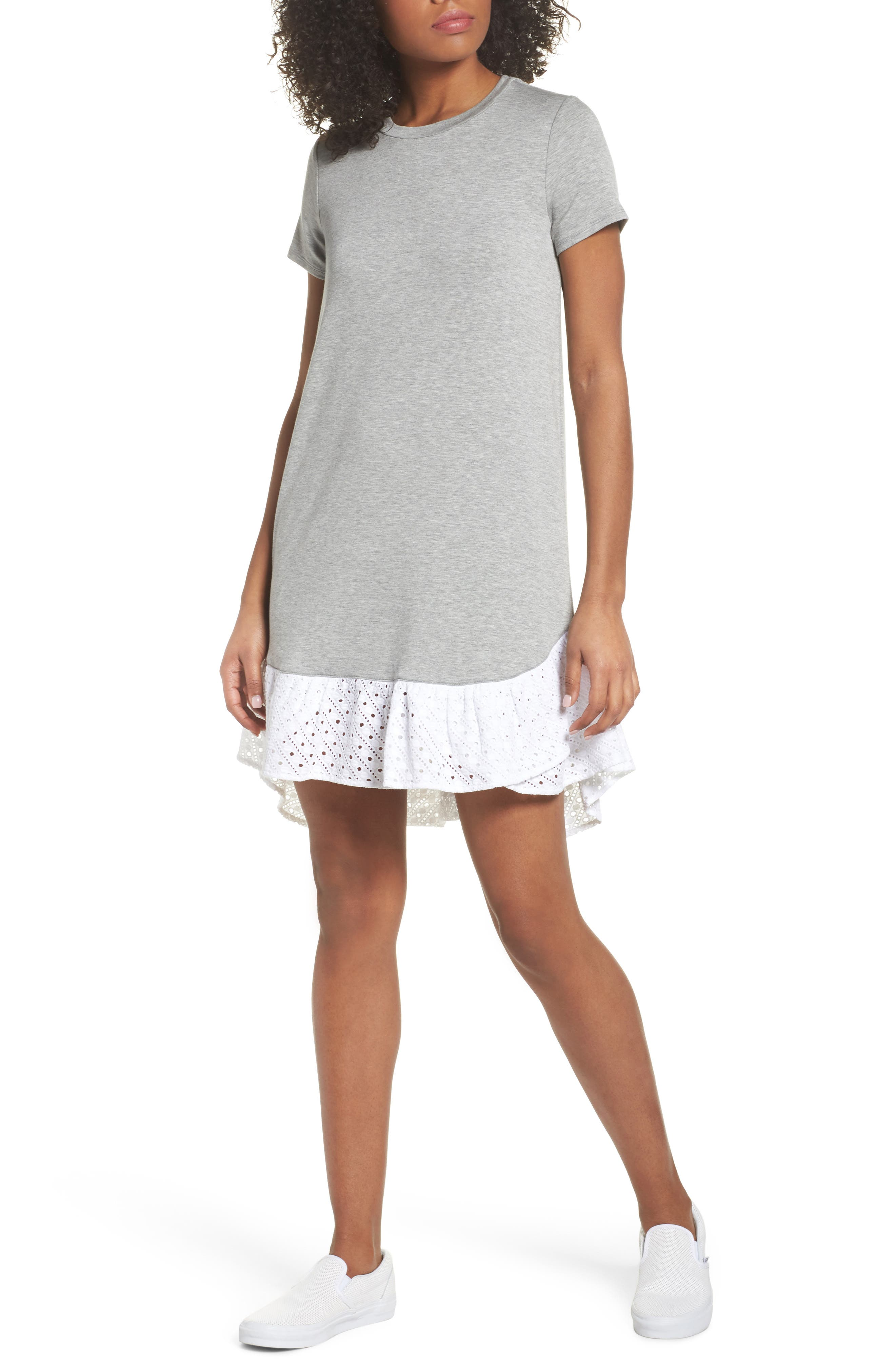 Eyelet Trim T-Shirt Dress,                         Main,                         color, Heather Grey
