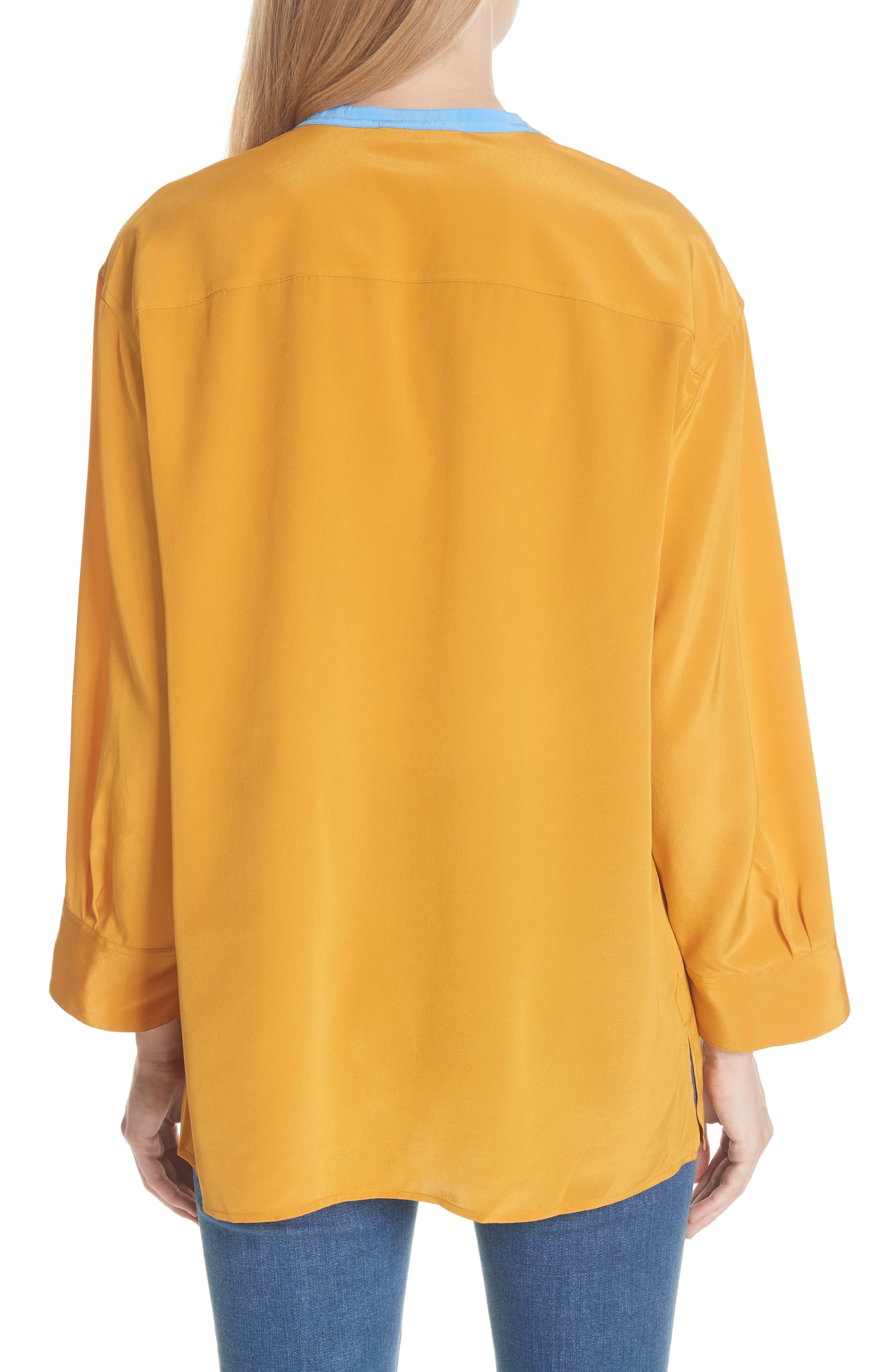 Colorblock Silk Tunic,                             Alternate thumbnail 2, color,                             Golden Age