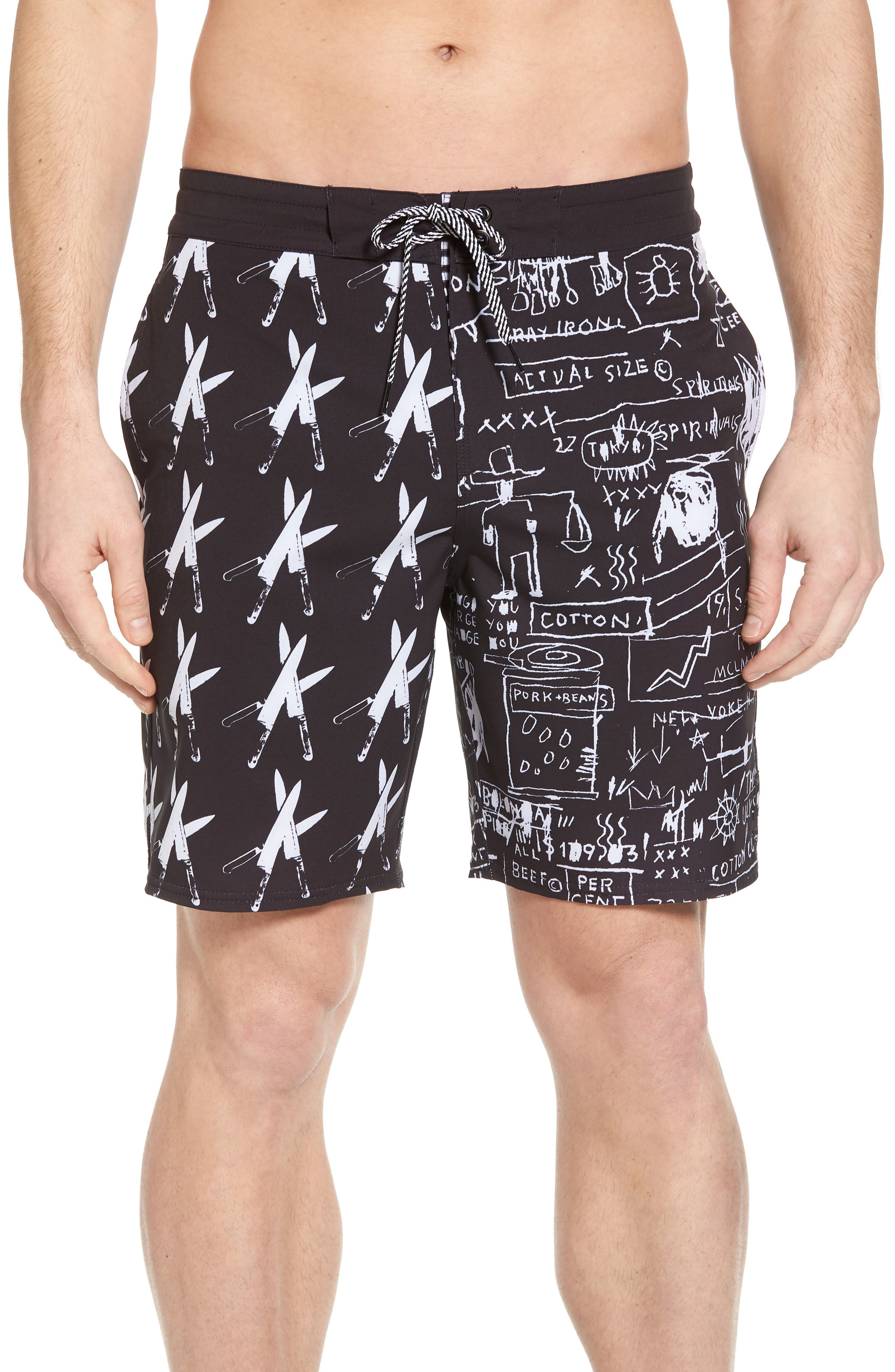 x Warhol Knives Lo Tides Board Shorts,                             Main thumbnail 1, color,                             Black/ White