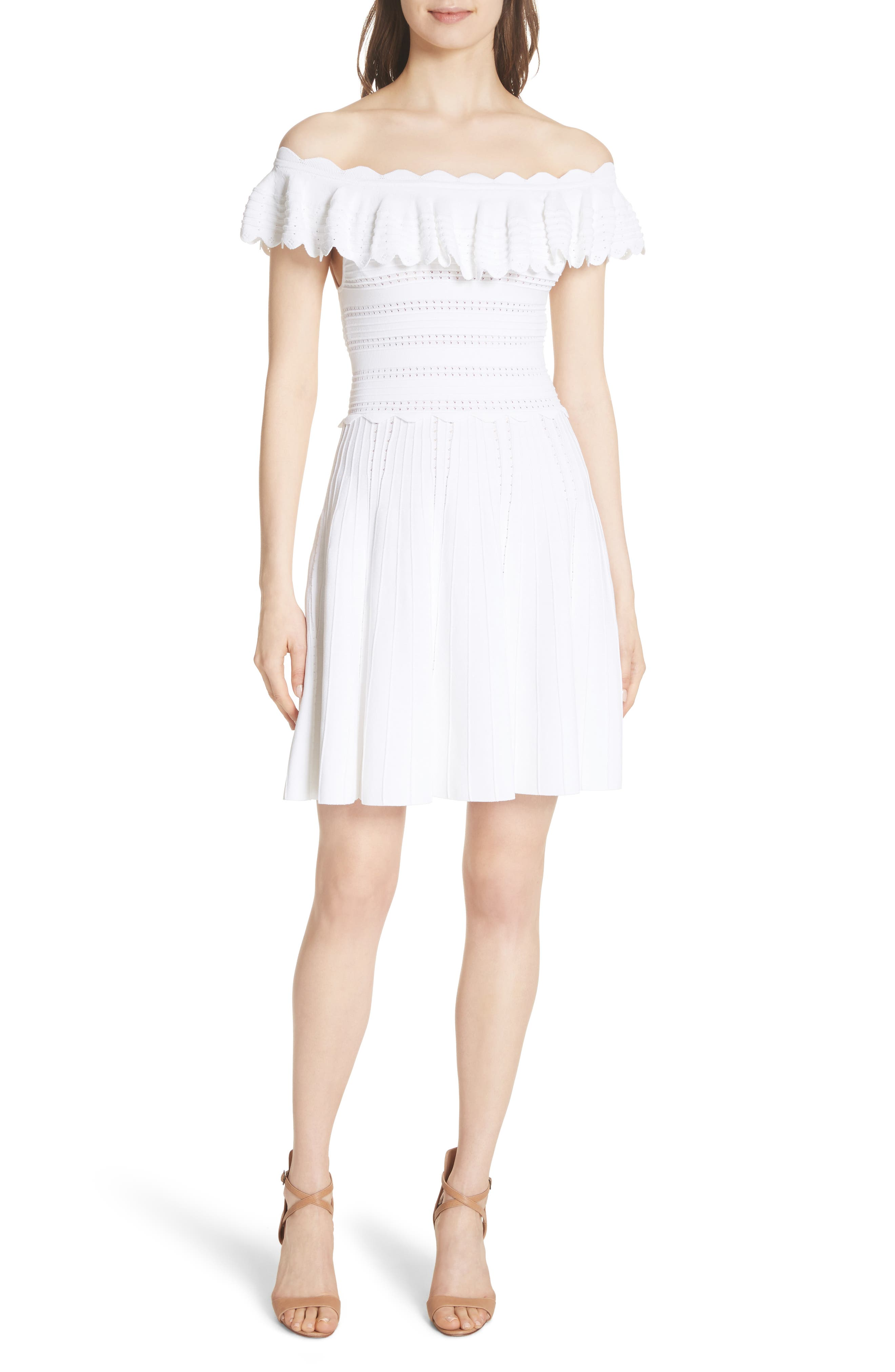 Janella Ruffled Off the Shoulder Dress,                             Main thumbnail 1, color,                             Optic White