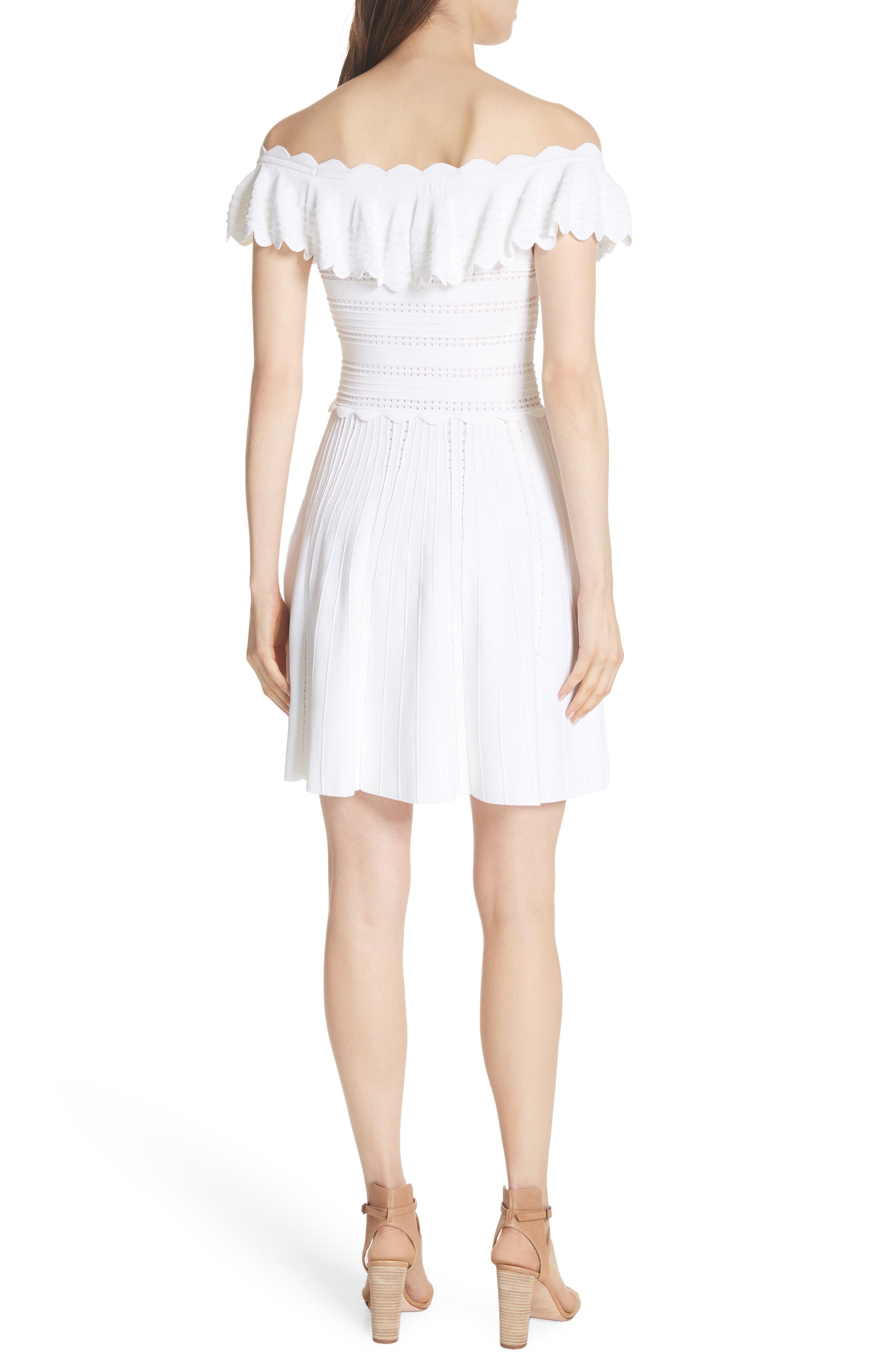 Janella Ruffled Off the Shoulder Dress,                             Alternate thumbnail 2, color,                             Optic White