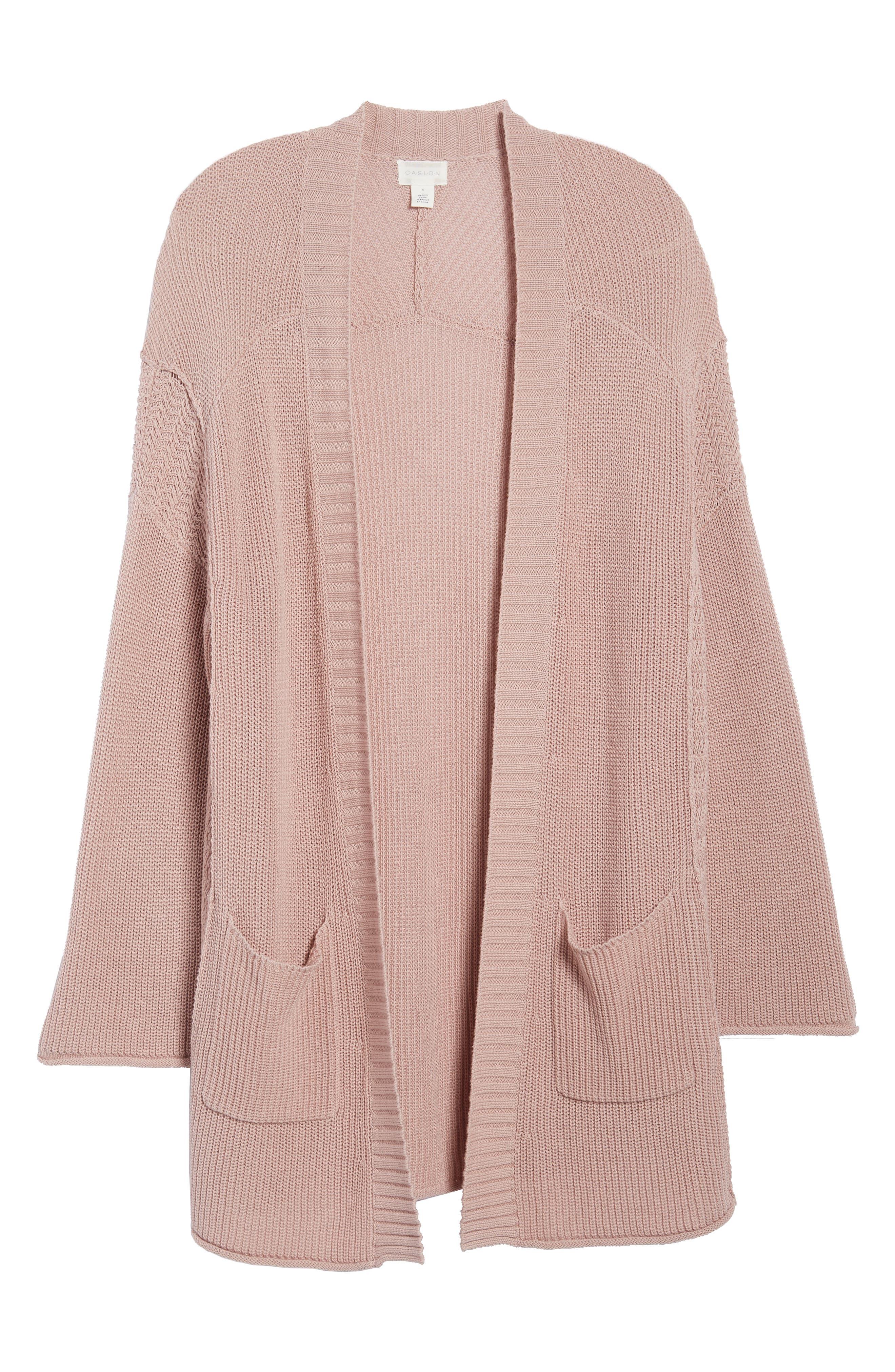 Open Cotton Cardigan,                             Alternate thumbnail 6, color,                             Pink Adobe