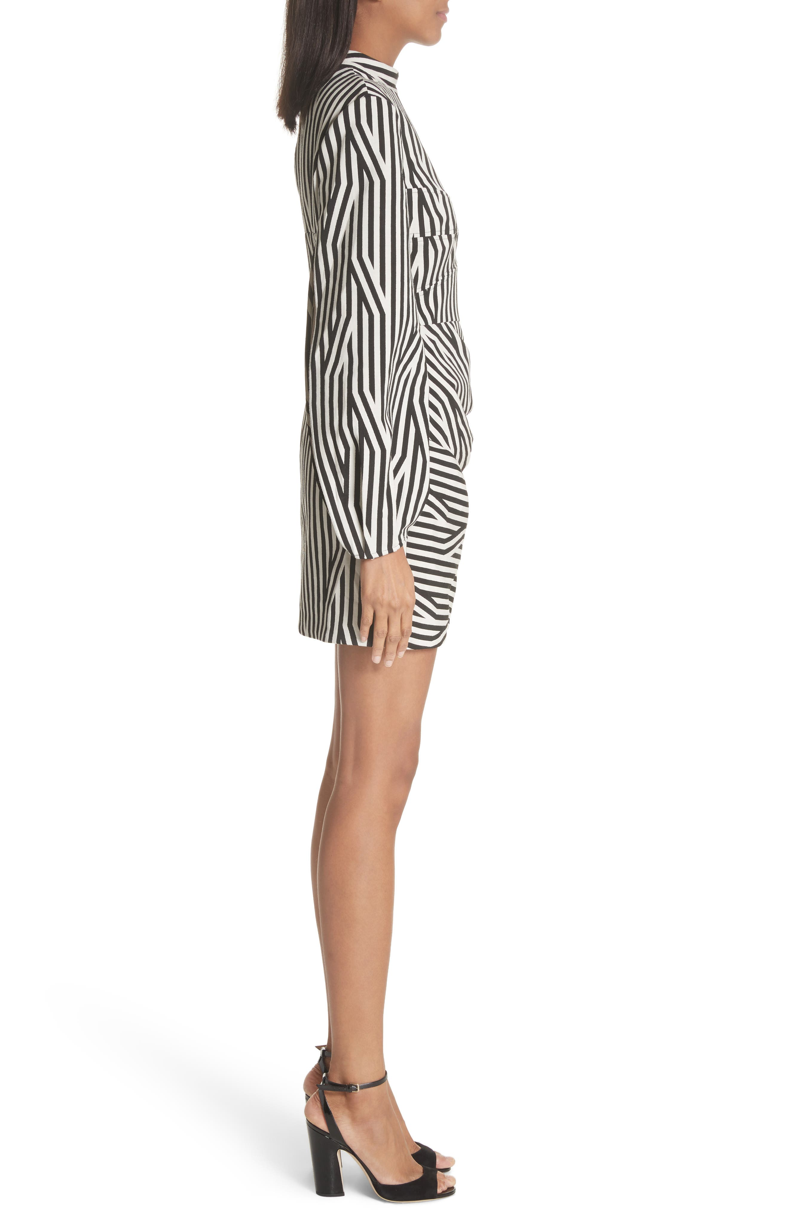 Abstract Stripe One-Shoulder Minidress,                             Alternate thumbnail 3, color,                             Black/ White
