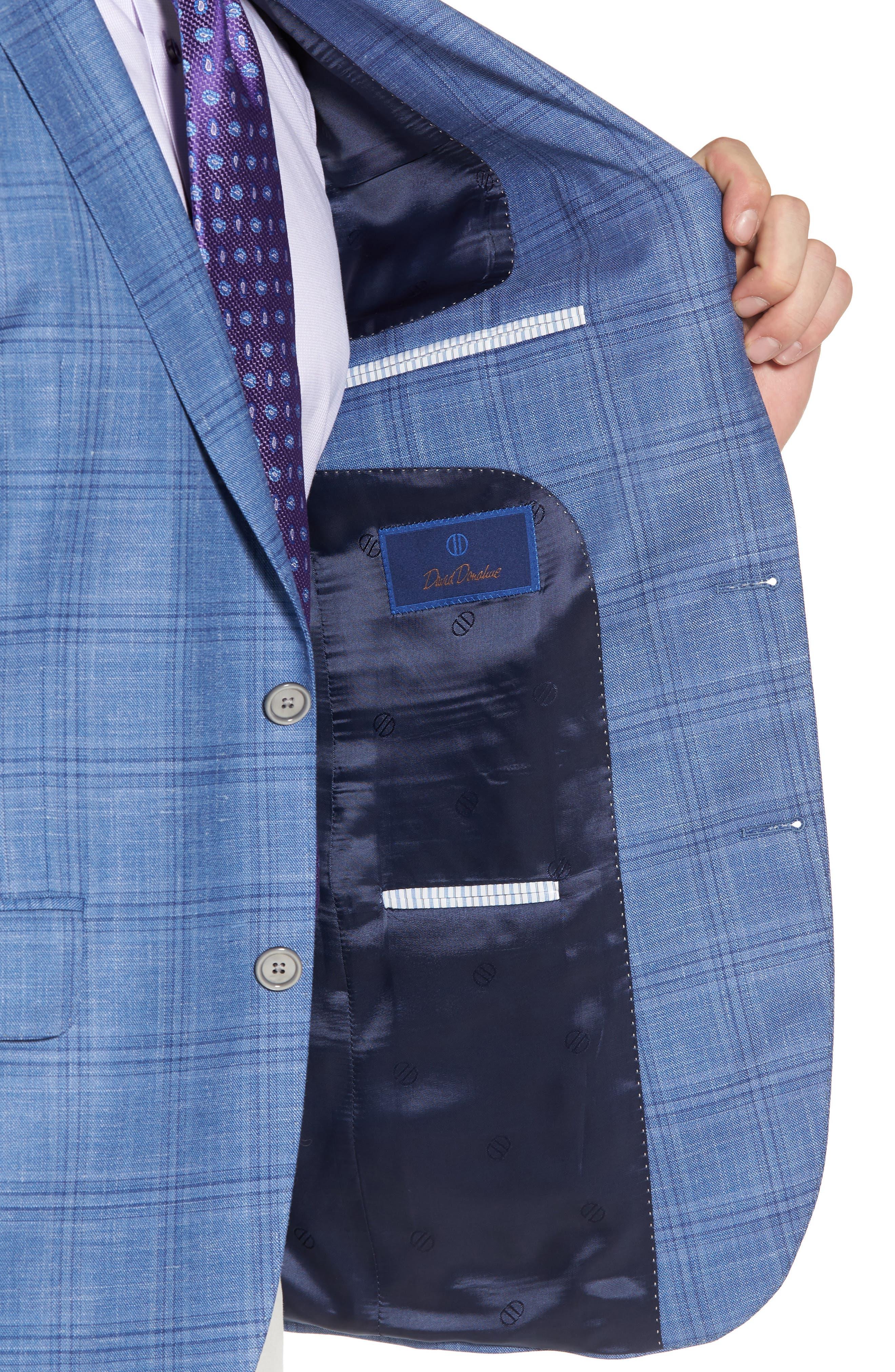 Arnold Classic Fit Plaid Wool Blend Sport Coat,                             Alternate thumbnail 4, color,                             Blue