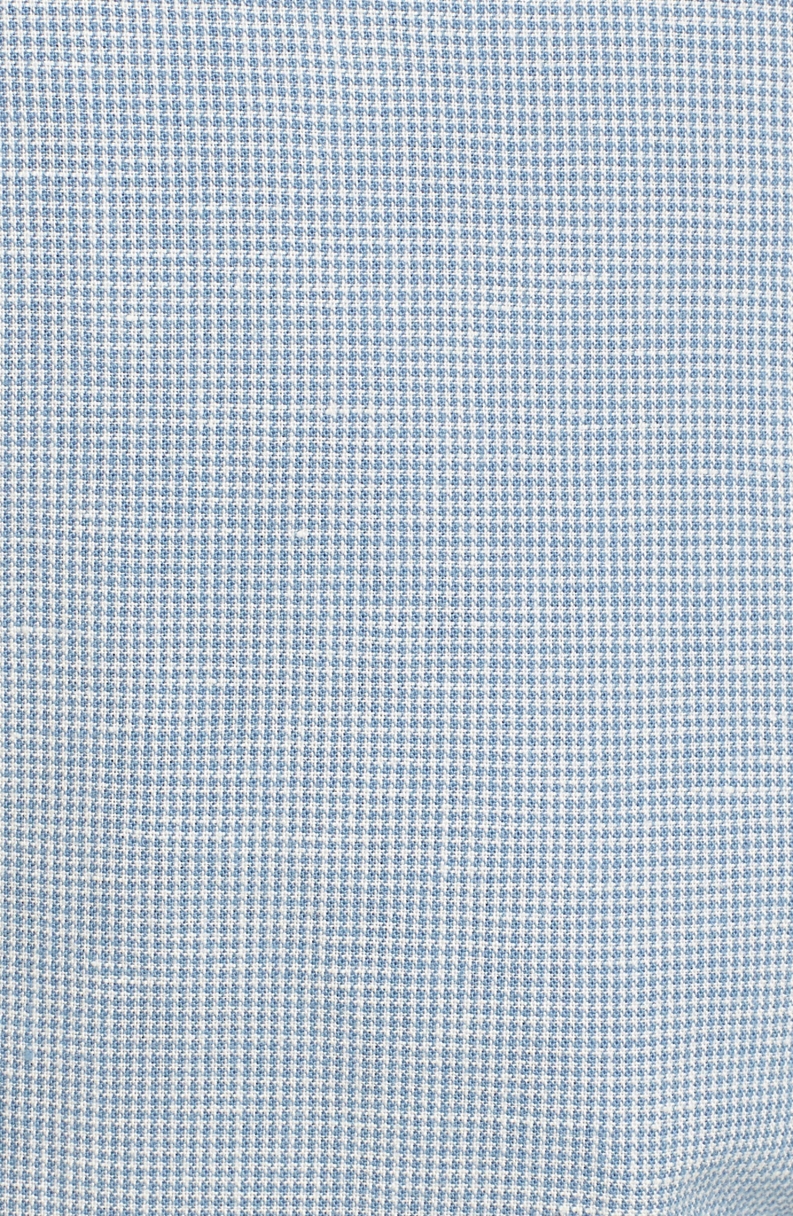 Ludlow Trim Fit Houndstooth Cotton & Linen Suit Pants,                             Alternate thumbnail 5, color,                             Light Blue