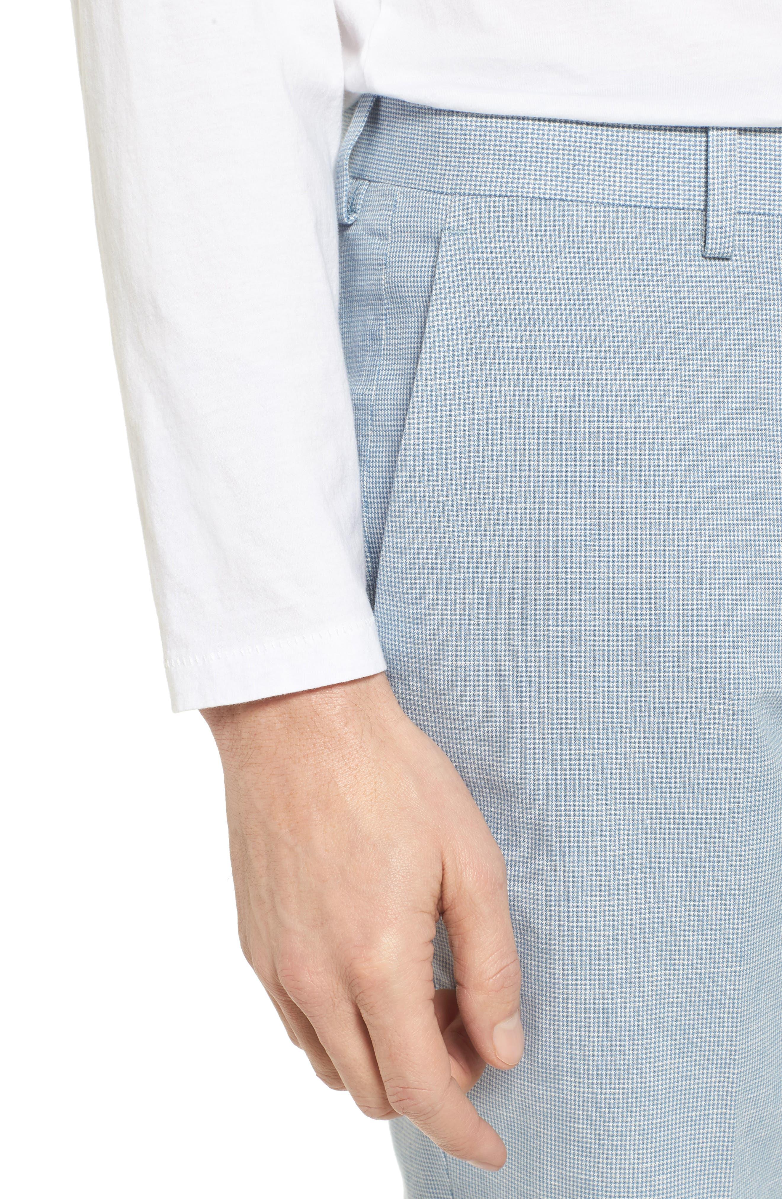 Ludlow Trim Fit Houndstooth Cotton & Linen Suit Pants,                             Alternate thumbnail 4, color,                             Light Blue