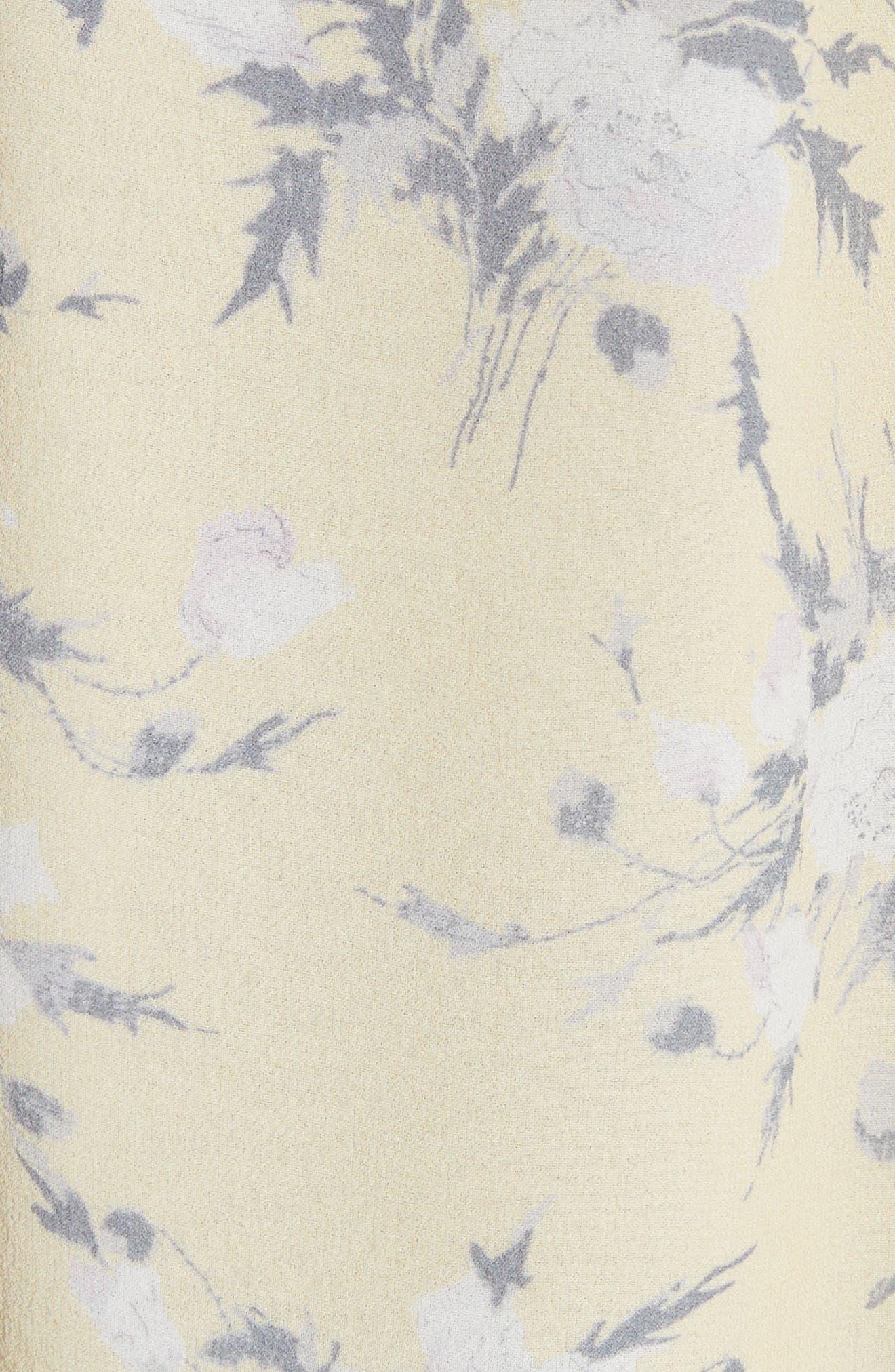 Lemon Rose Silk Top,                             Alternate thumbnail 5, color,                             Lemon Combo