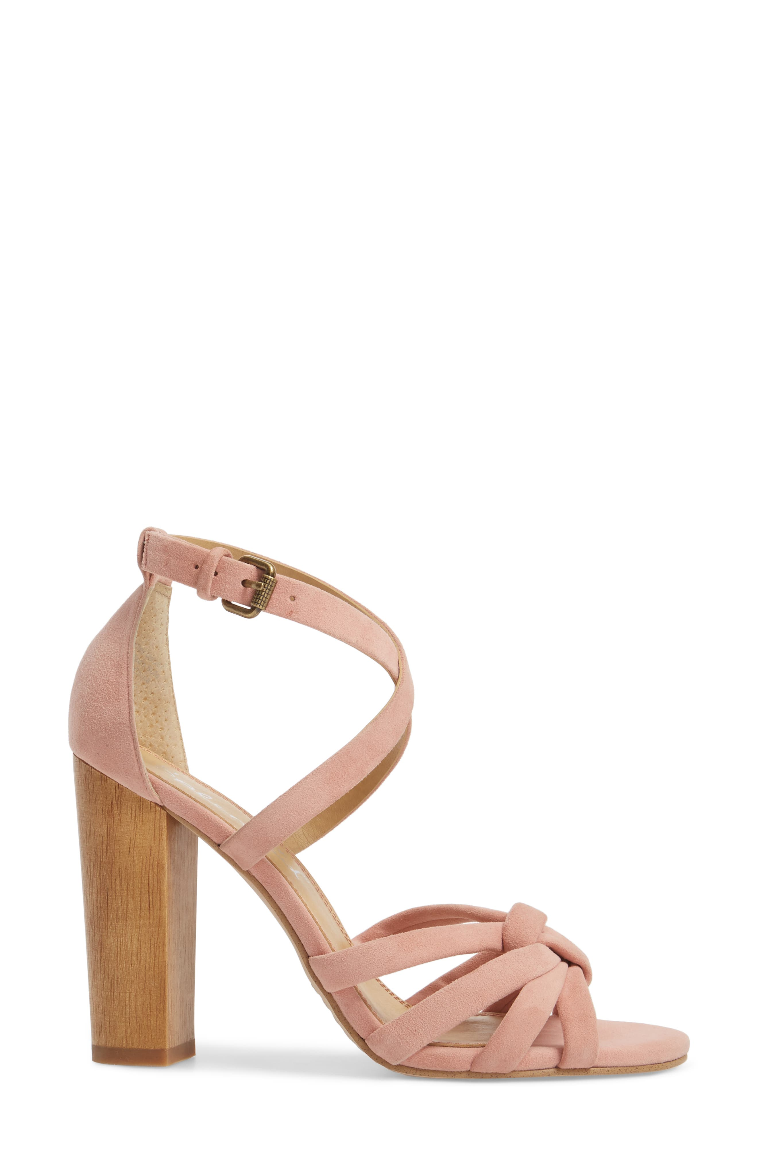 Faris Block Heel Sandal,                             Alternate thumbnail 3, color,                             Blush Suede