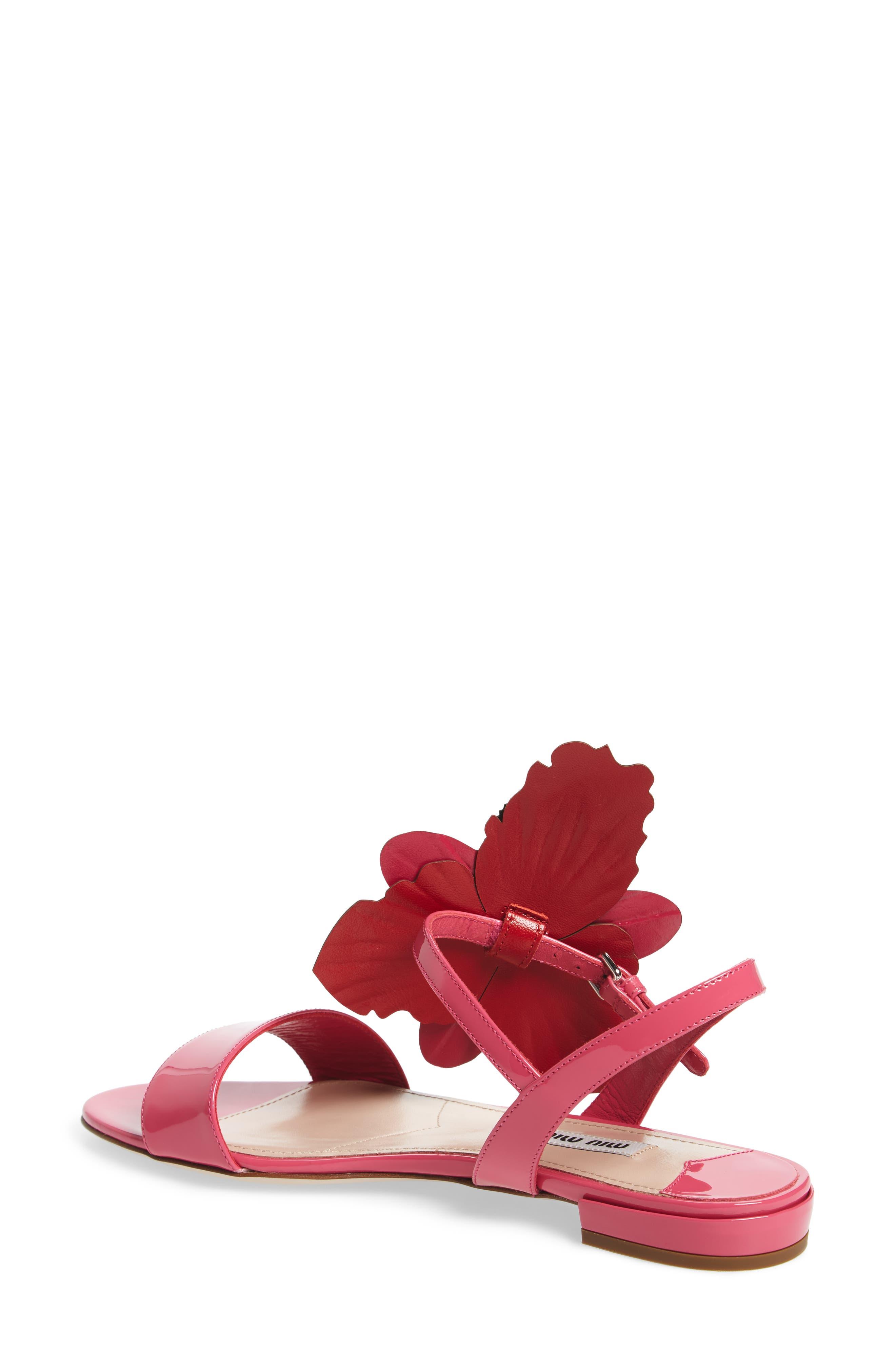 Floral Embellished Strappy Sandal,                             Alternate thumbnail 2, color,                             Pink