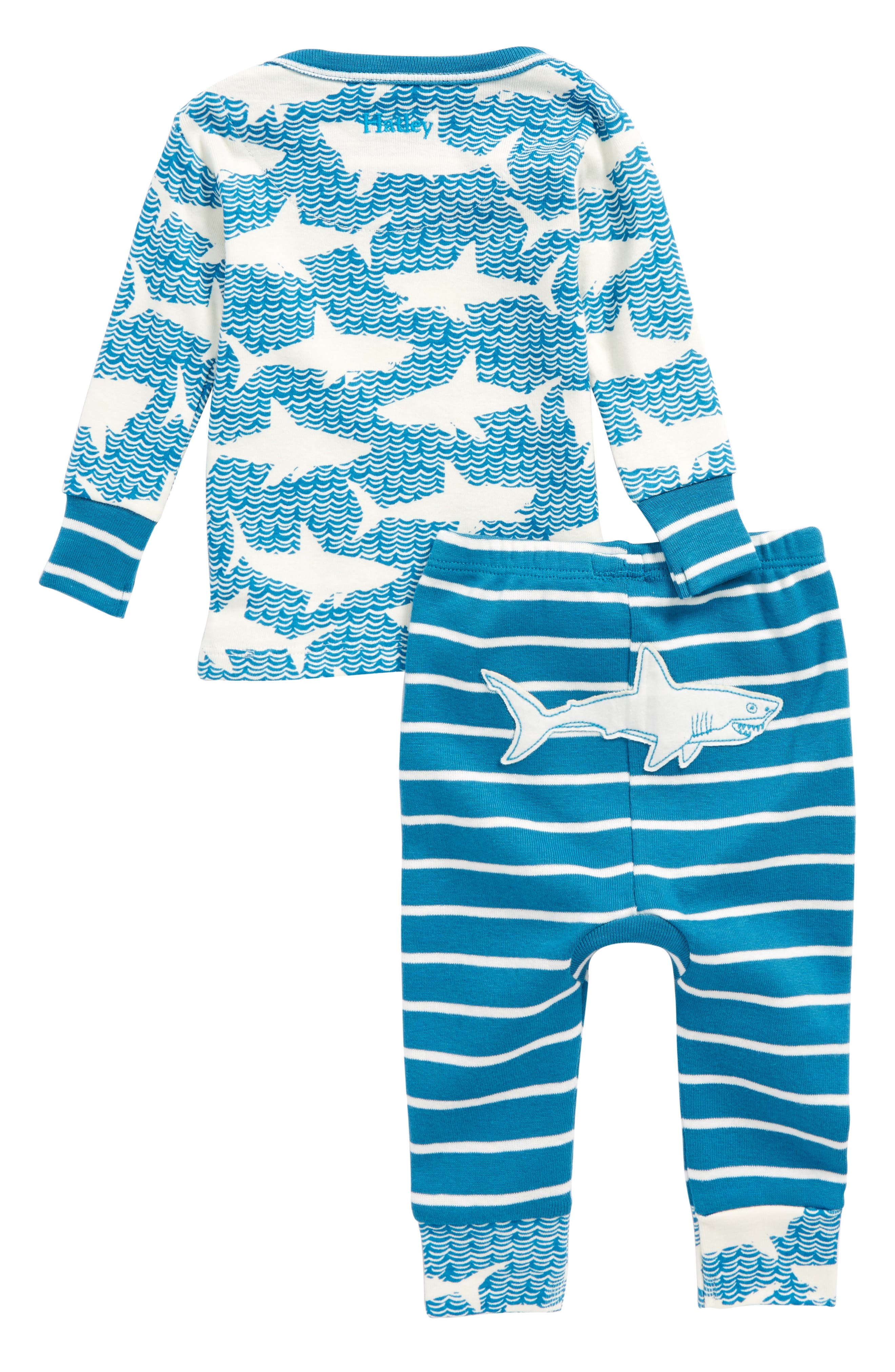 Shark Alley Organic Cotton Fitted Two-Piece Pajamas,                             Main thumbnail 1, color,                             Shark Alley