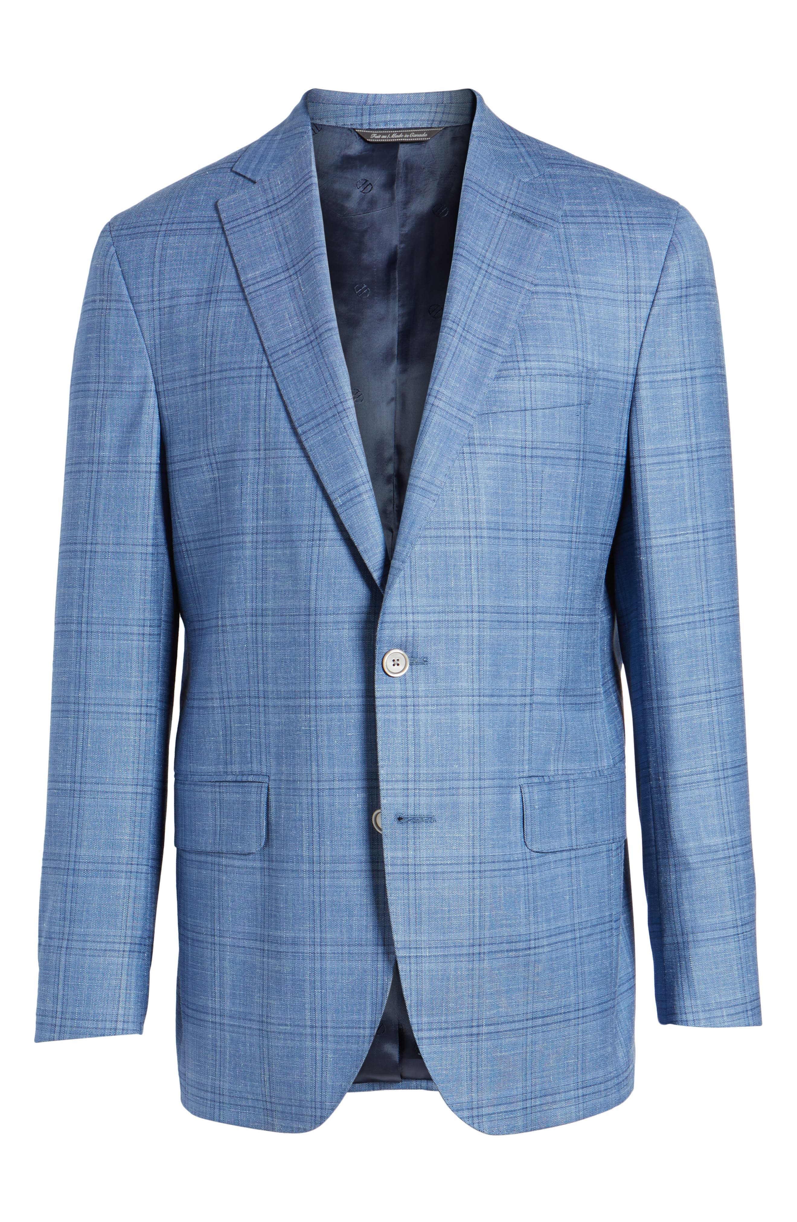 Arnold Classic Fit Plaid Wool Blend Sport Coat,                             Alternate thumbnail 6, color,                             Blue