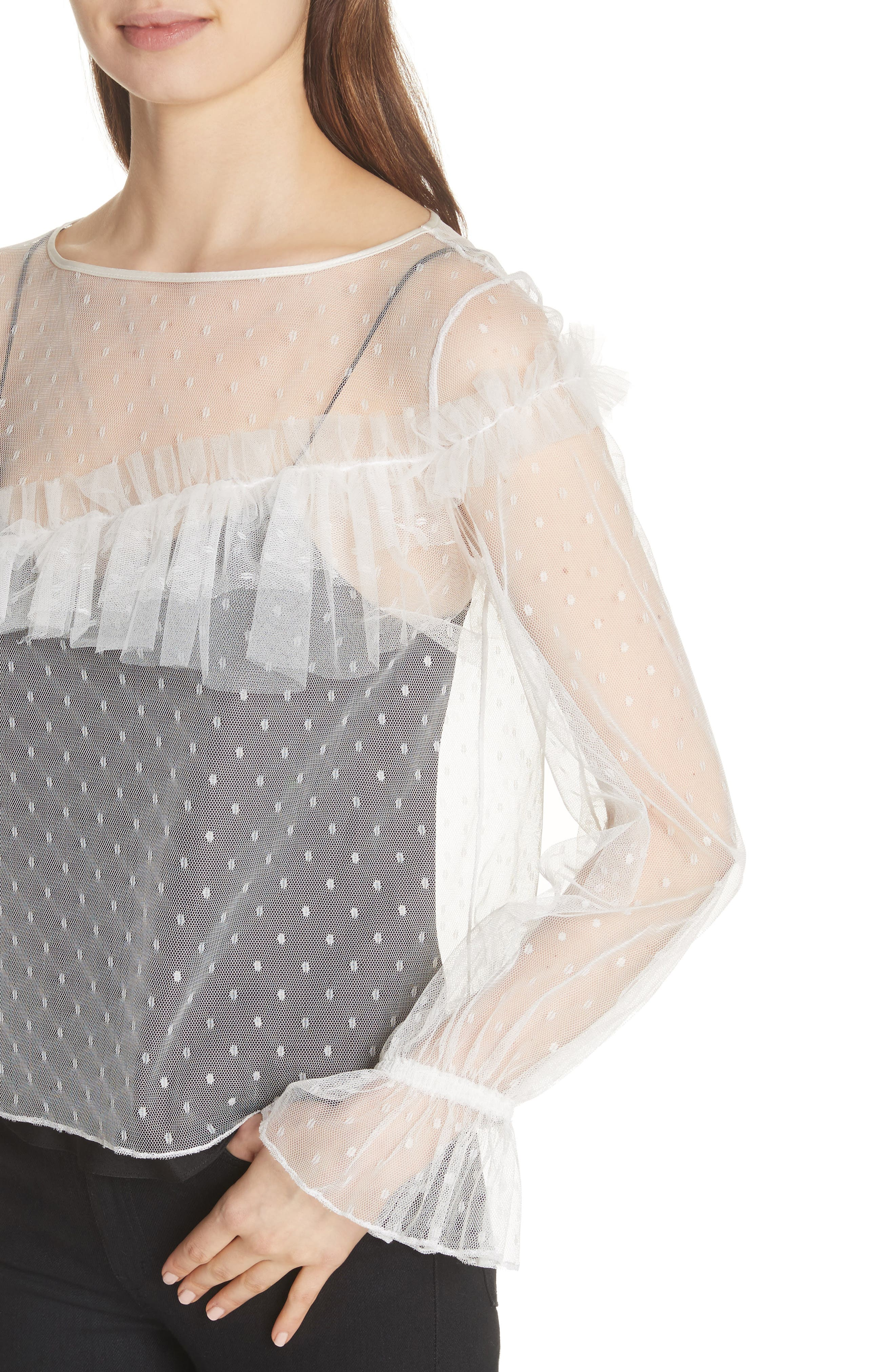 Indio Layered Swiss Dot Top,                             Alternate thumbnail 4, color,                             Ivory