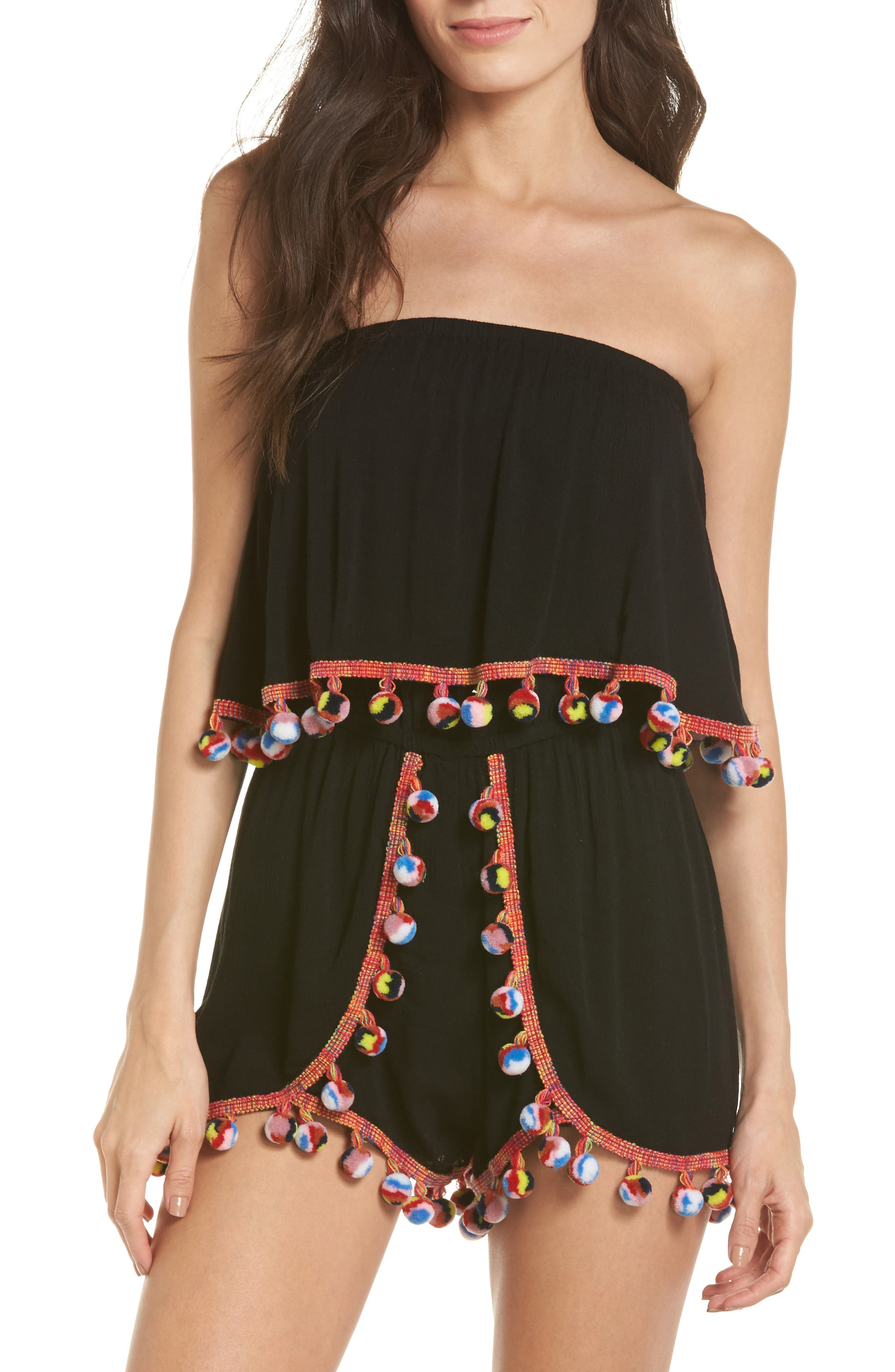 Red Fruit Punch Cover-Up Romper,                             Main thumbnail 1, color,                             Black