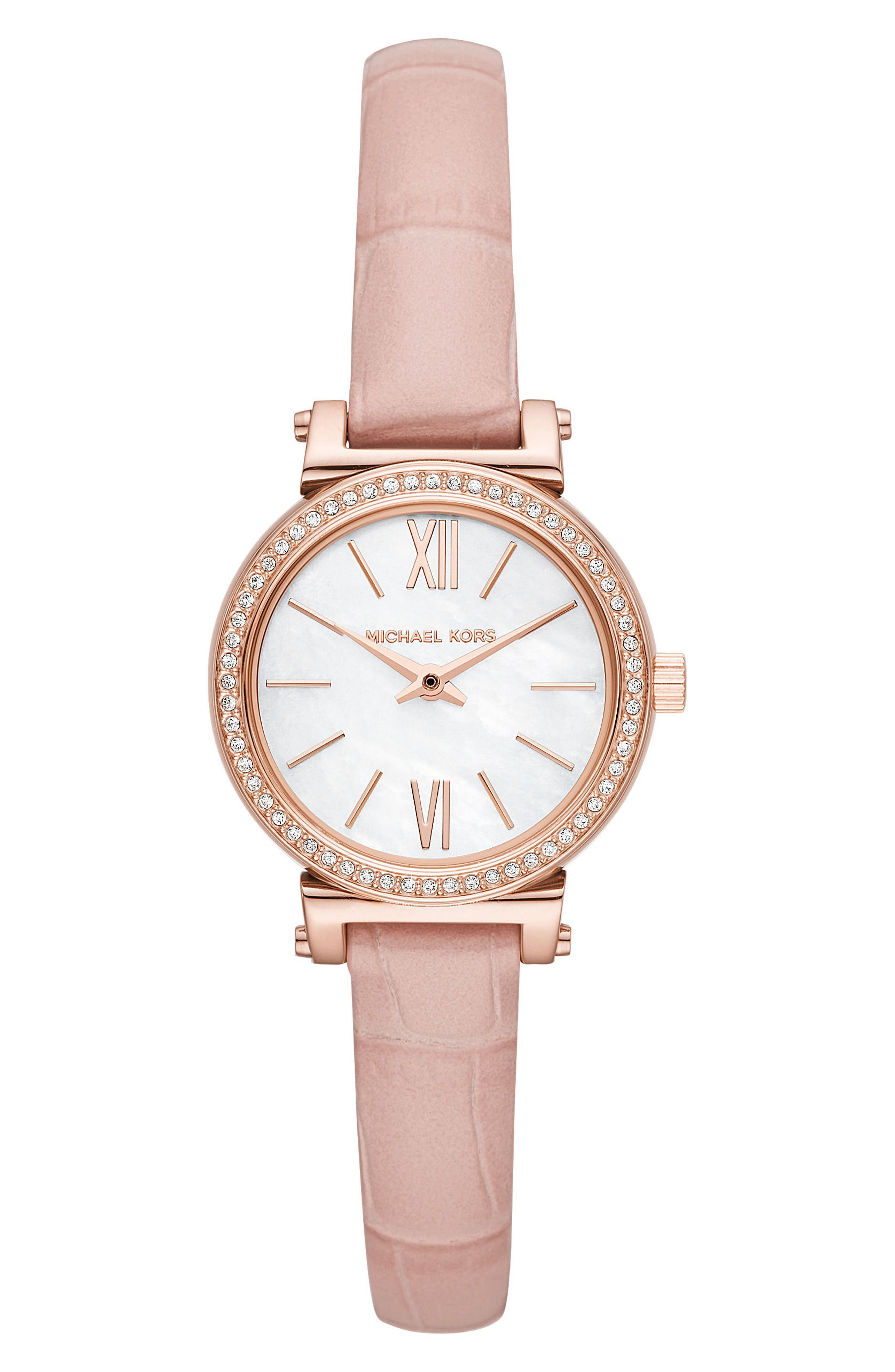 Sofie Crystal Leather Strap Watch, 26mm,                             Main thumbnail 1, color,                             Pink/ Mop/ Rose Gold