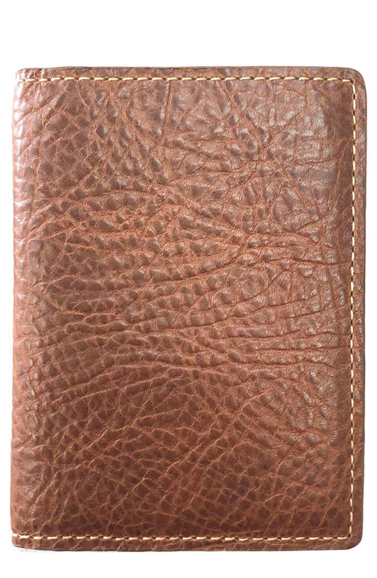 Caleb Leather Folding Card Case,                             Main thumbnail 1, color,                             Chestnut