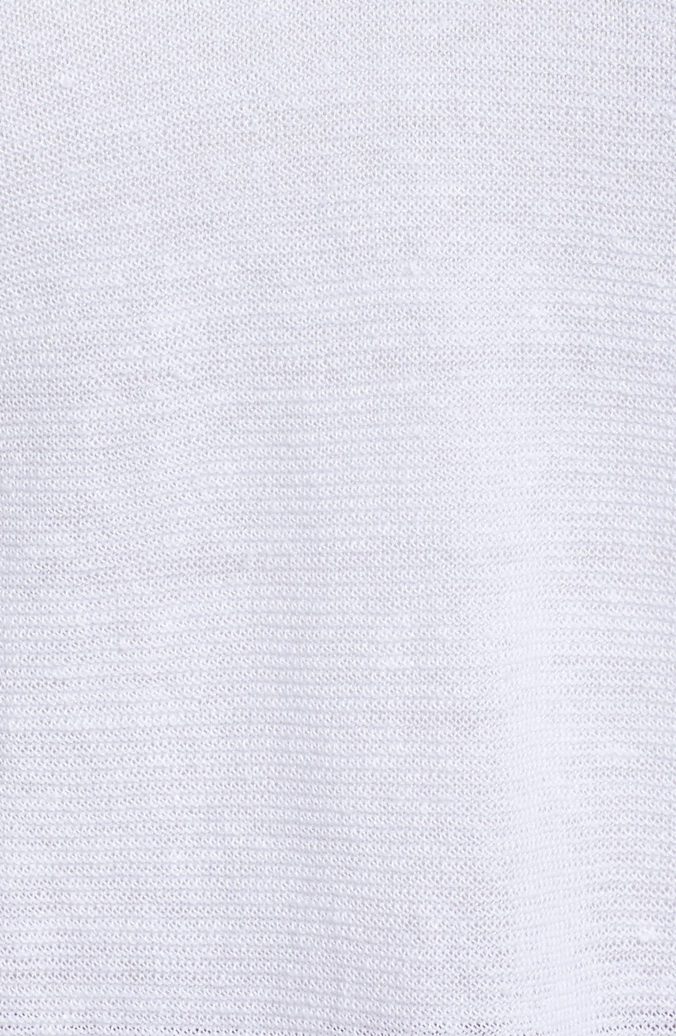 V-Neck Organic Linen Top,                             Alternate thumbnail 5, color,                             White