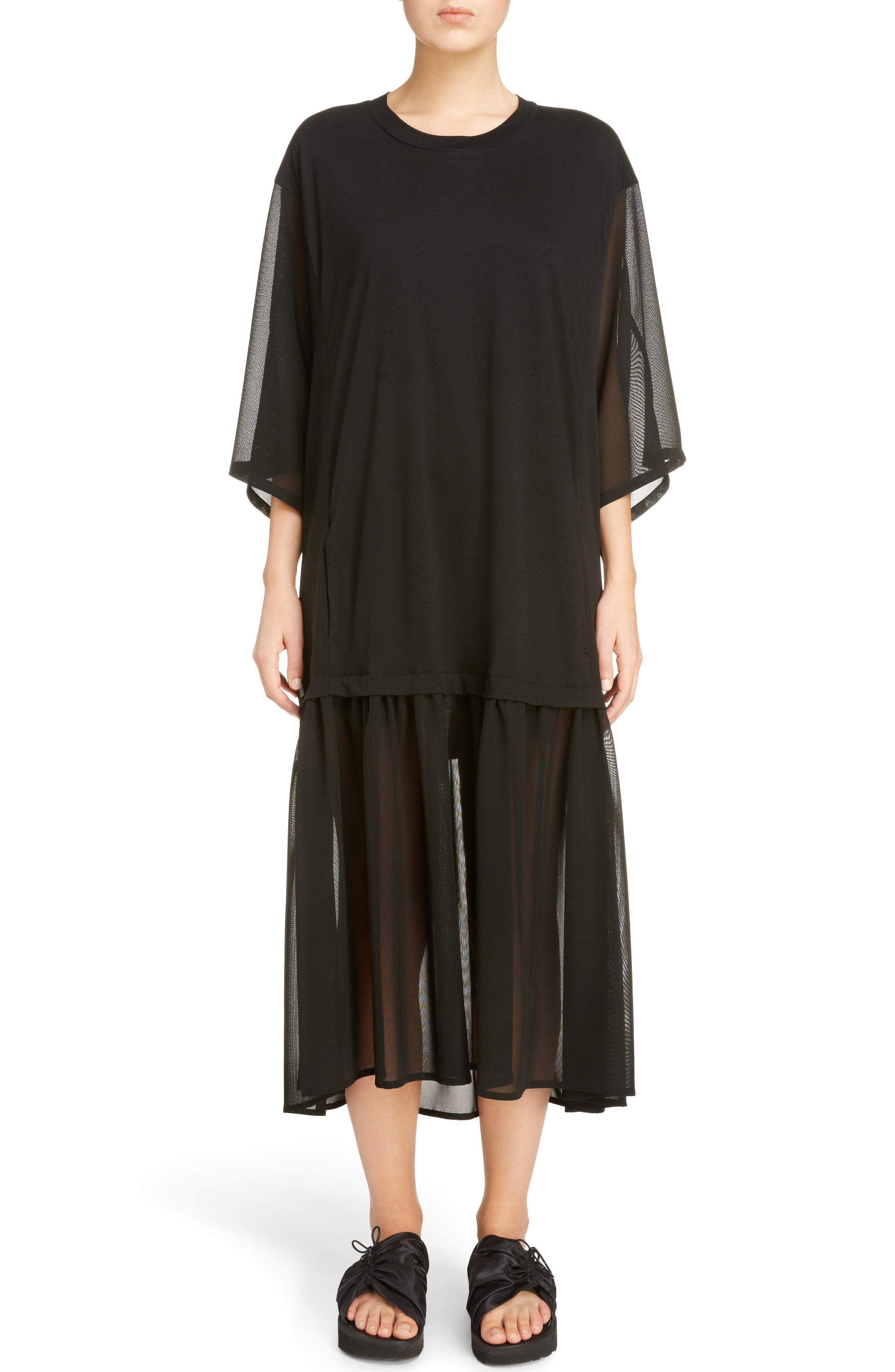 Sheer Hem T-Shirt Dress,                         Main,                         color, Black