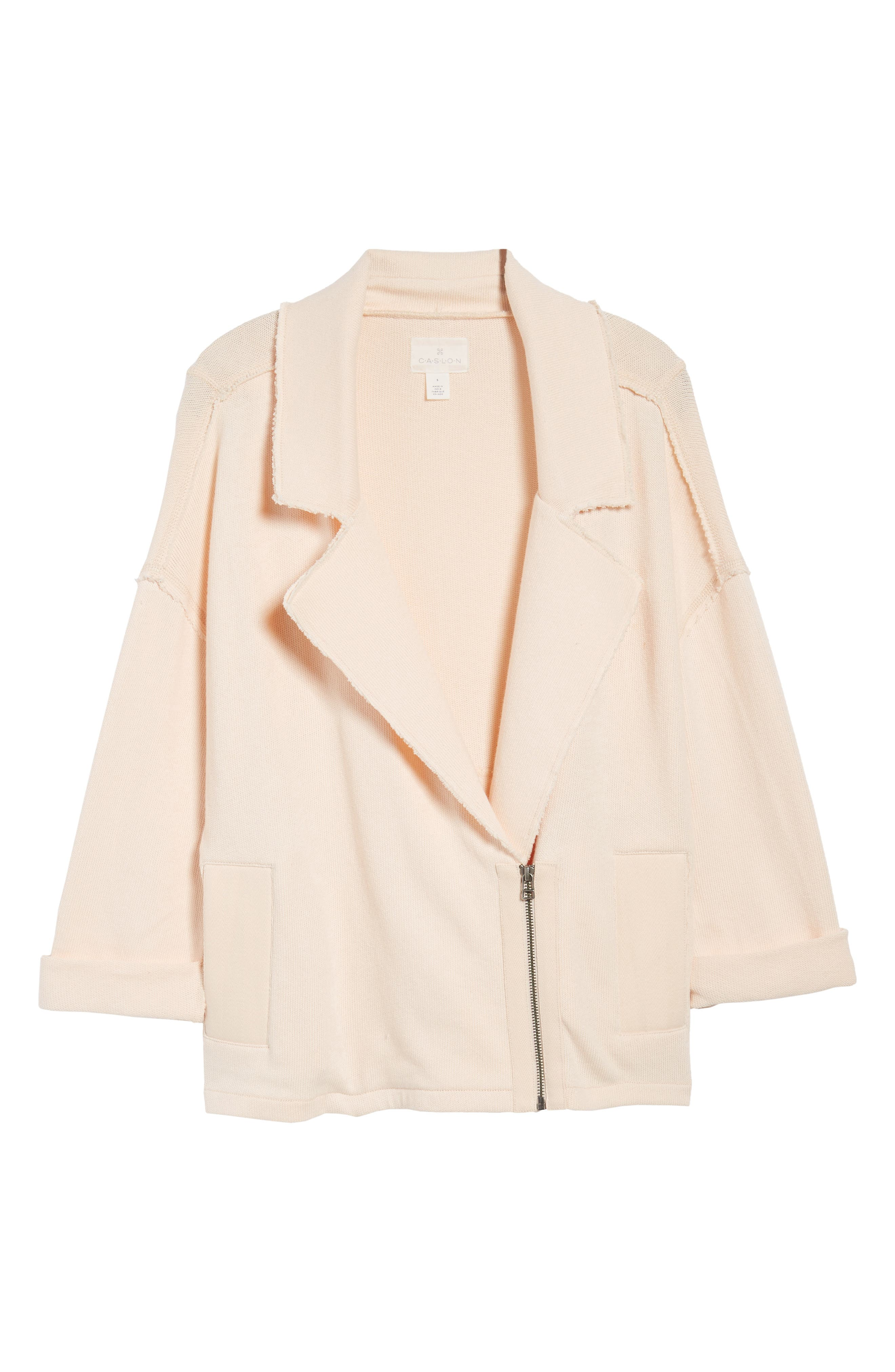 Knit Moto Jacket,                             Alternate thumbnail 6, color,                             Beige Linen