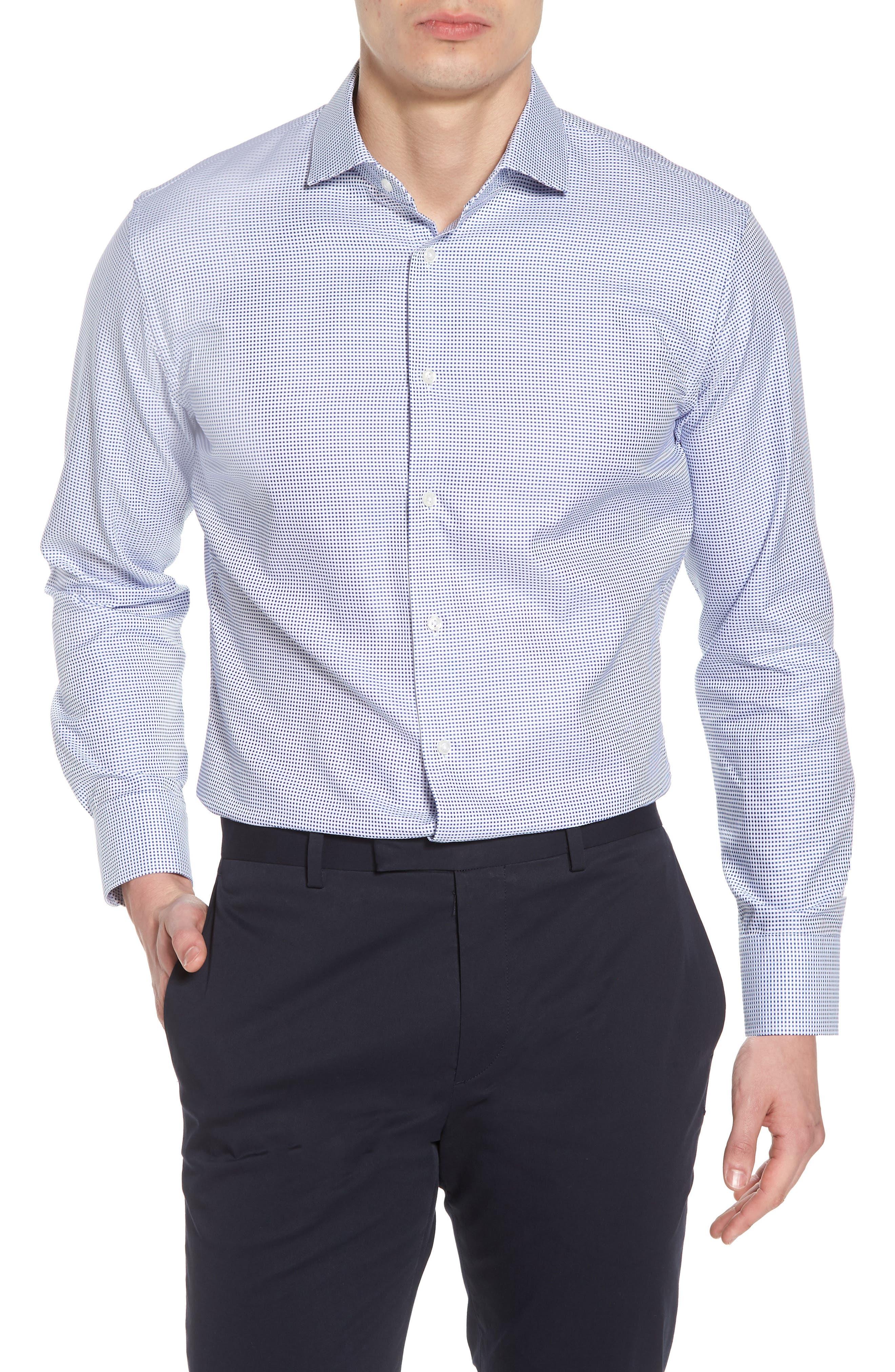 Trim Fit Microcheck Dress Shirt,                         Main,                         color, Blue Surf