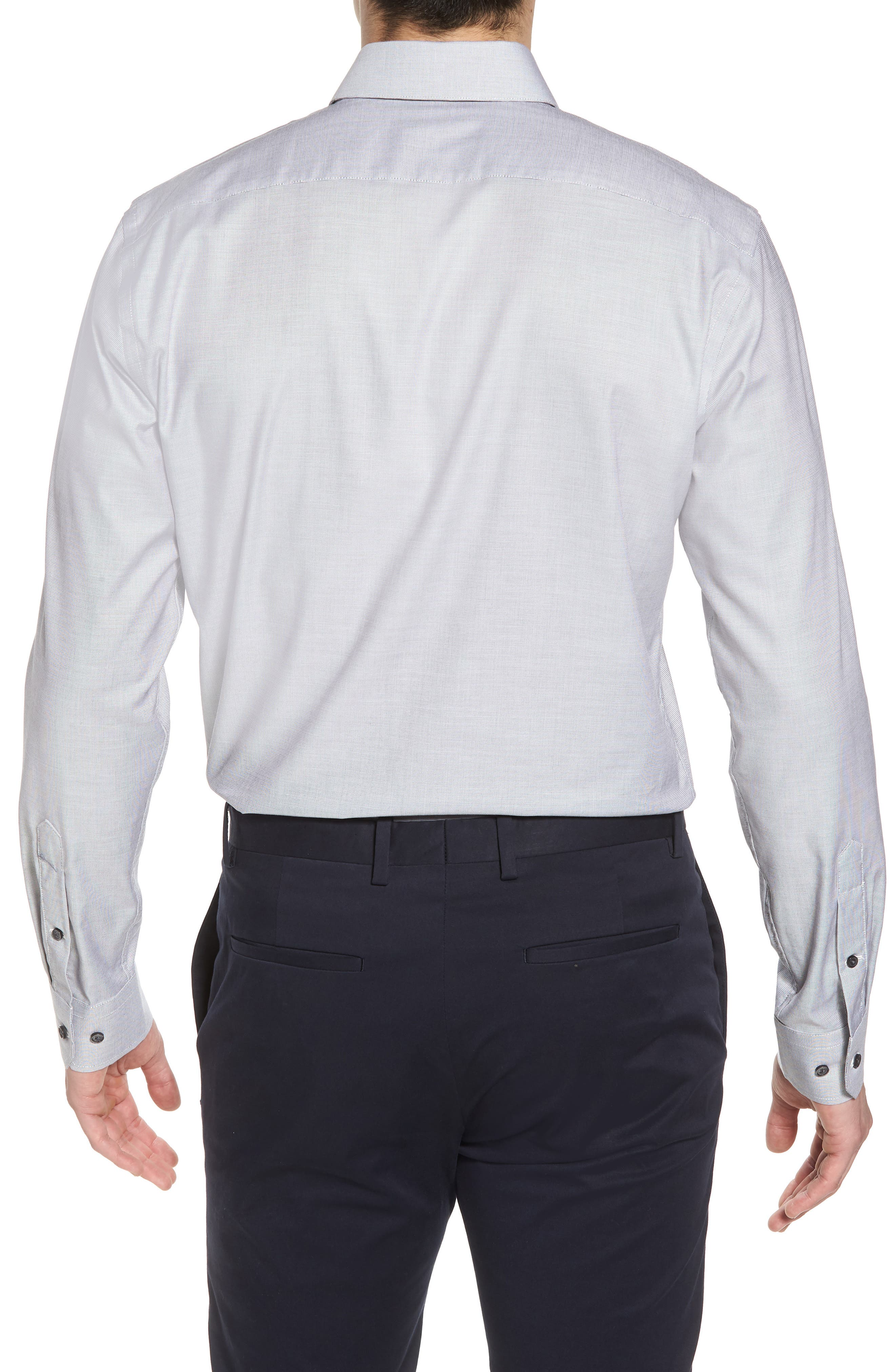 Trim Fit Non-Iron Stretch Solid Dress Shirt,                             Alternate thumbnail 3, color,                             Grey Sconce