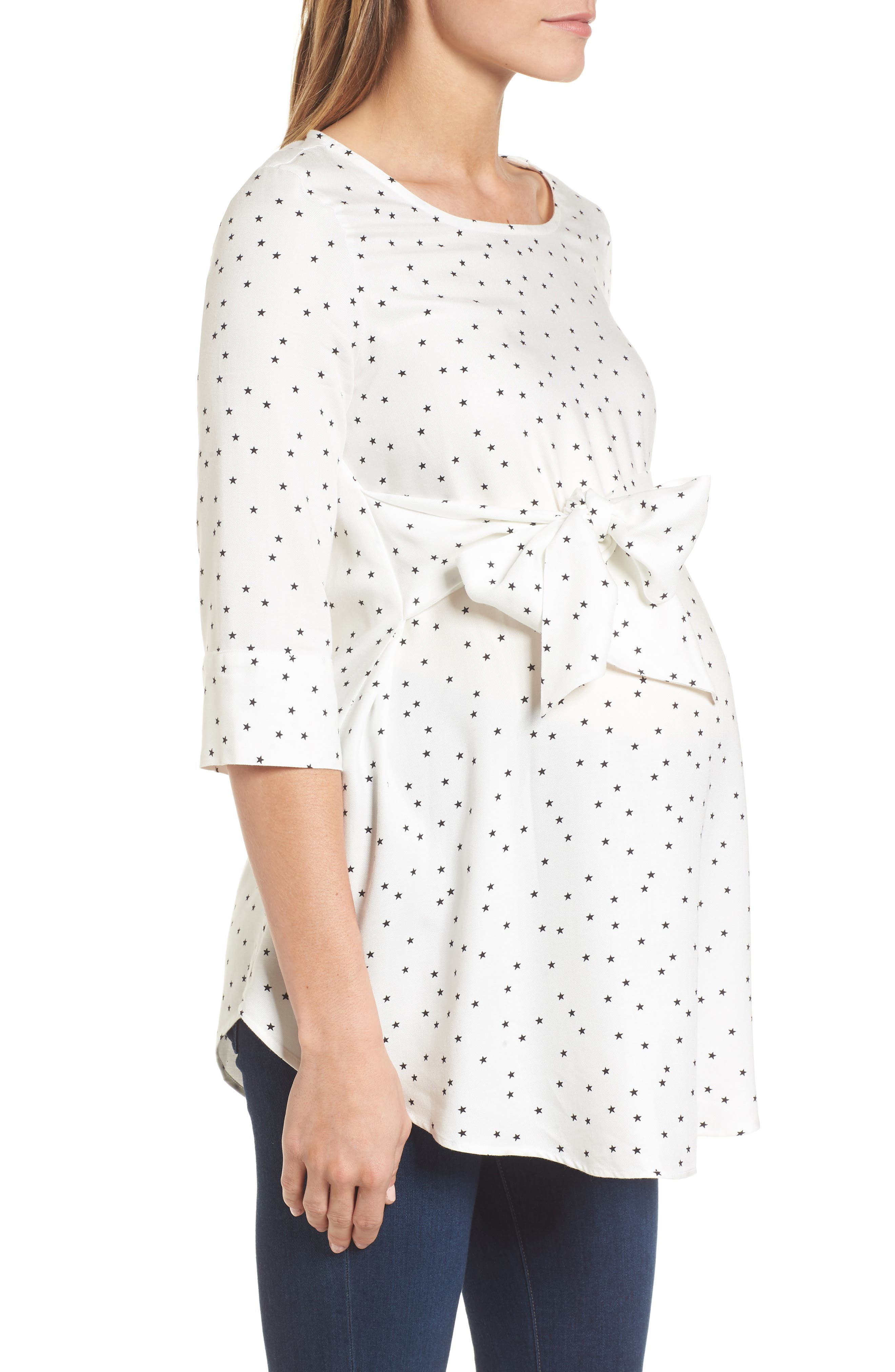 Selina Tie Front Maternity Top,                             Alternate thumbnail 3, color,                             Off White Star Print