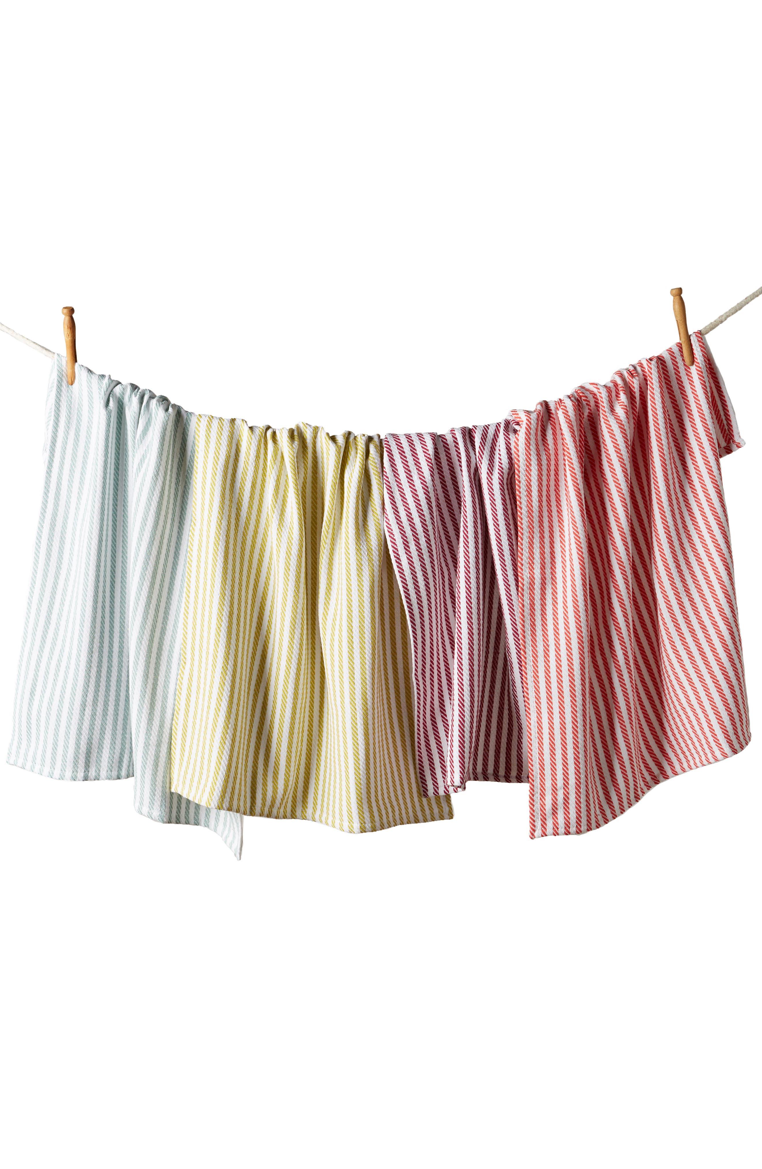 Baker Stripe Set of 4 Dishtowels,                             Alternate thumbnail 3, color,                             Pink Multi