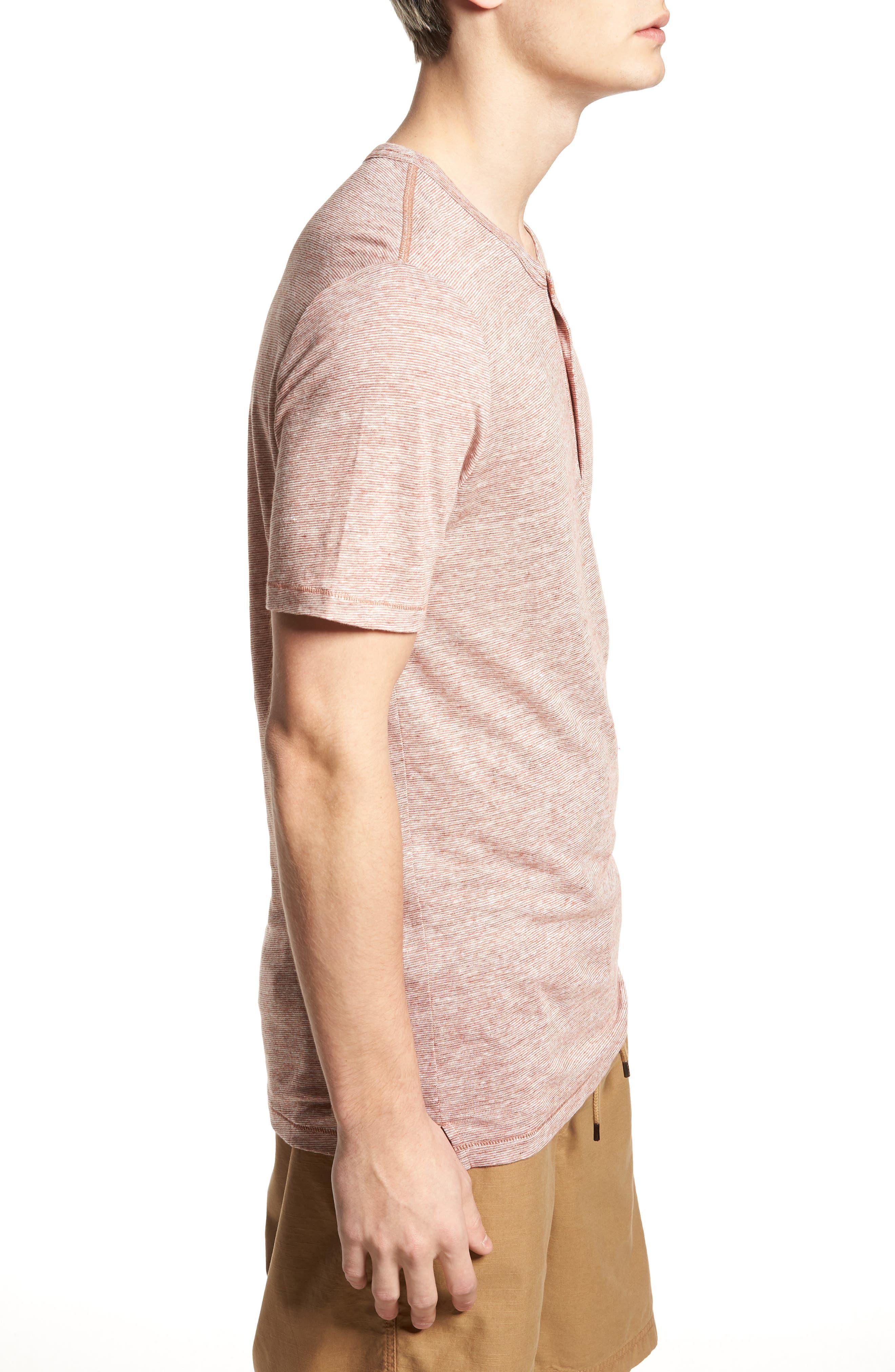 Short Sleeve Linen Henley,                             Alternate thumbnail 3, color,                             Tan Adobe Stripe