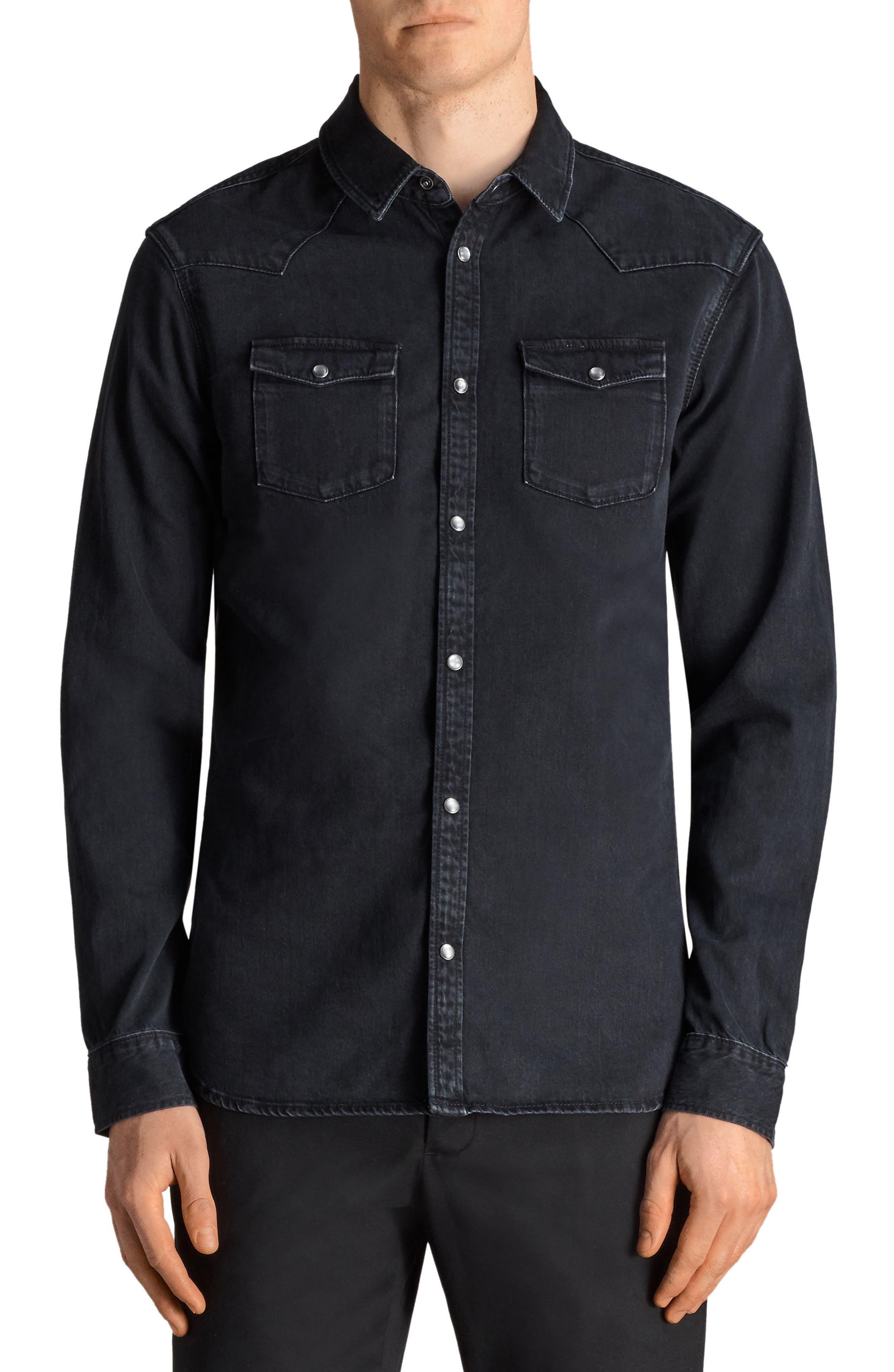 Beck Slim Fit Denim Sport Shirt,                         Main,                         color, Black
