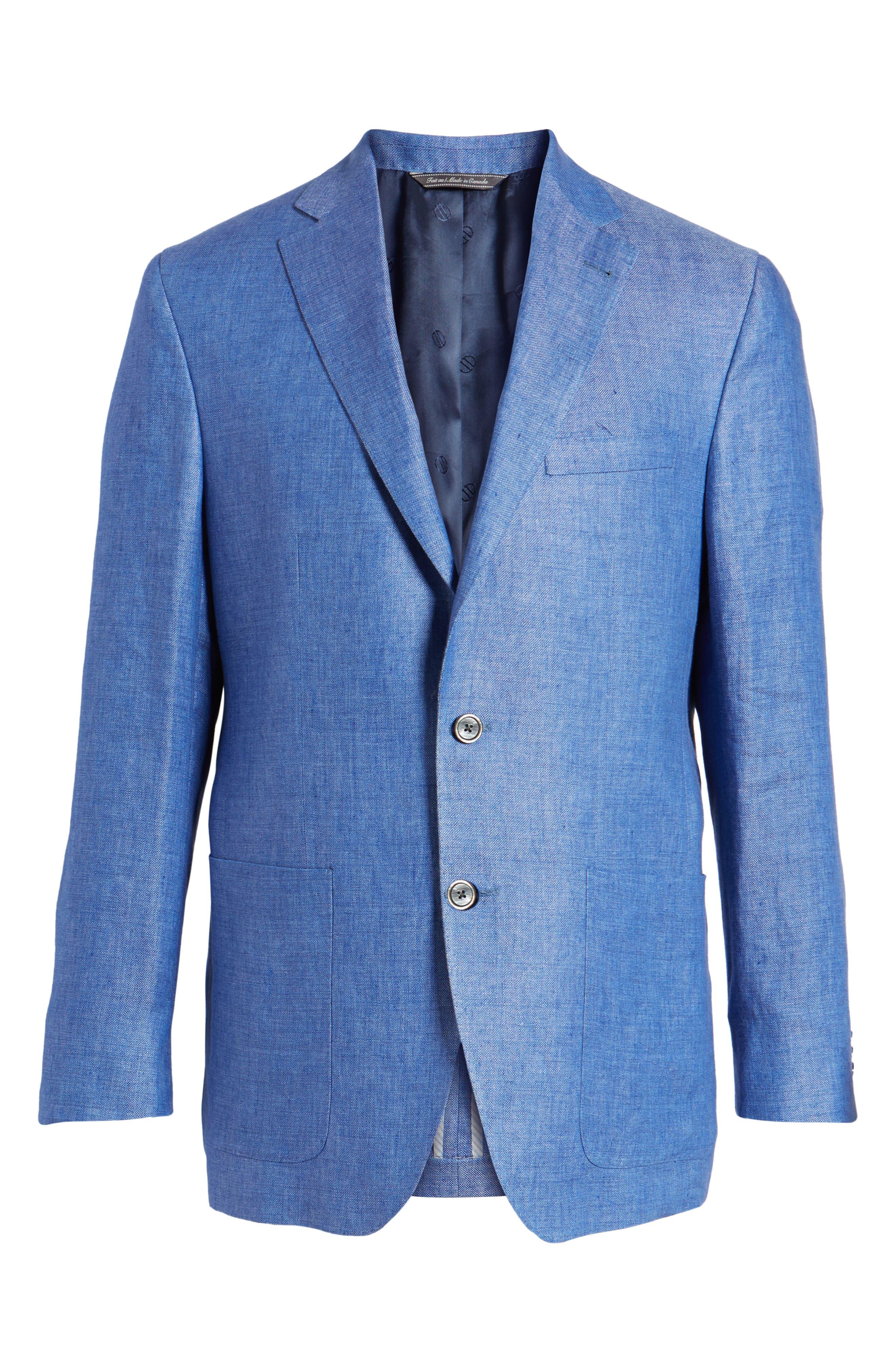 Aiden Classic Fit Linen Blazer,                             Alternate thumbnail 6, color,                             Blue
