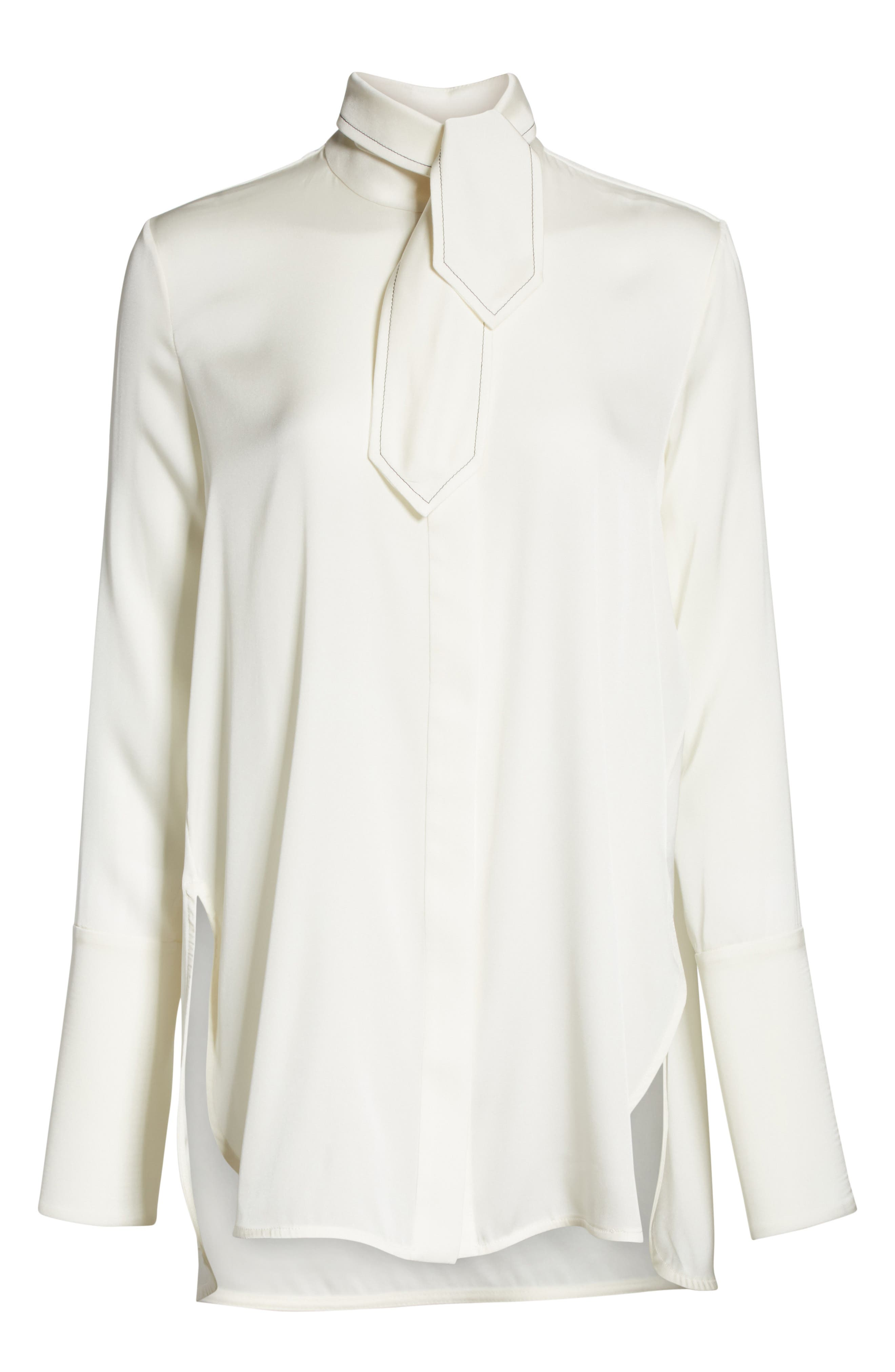 Ride Lonesome Tie Neck Blouse,                             Alternate thumbnail 6, color,                             Ivory
