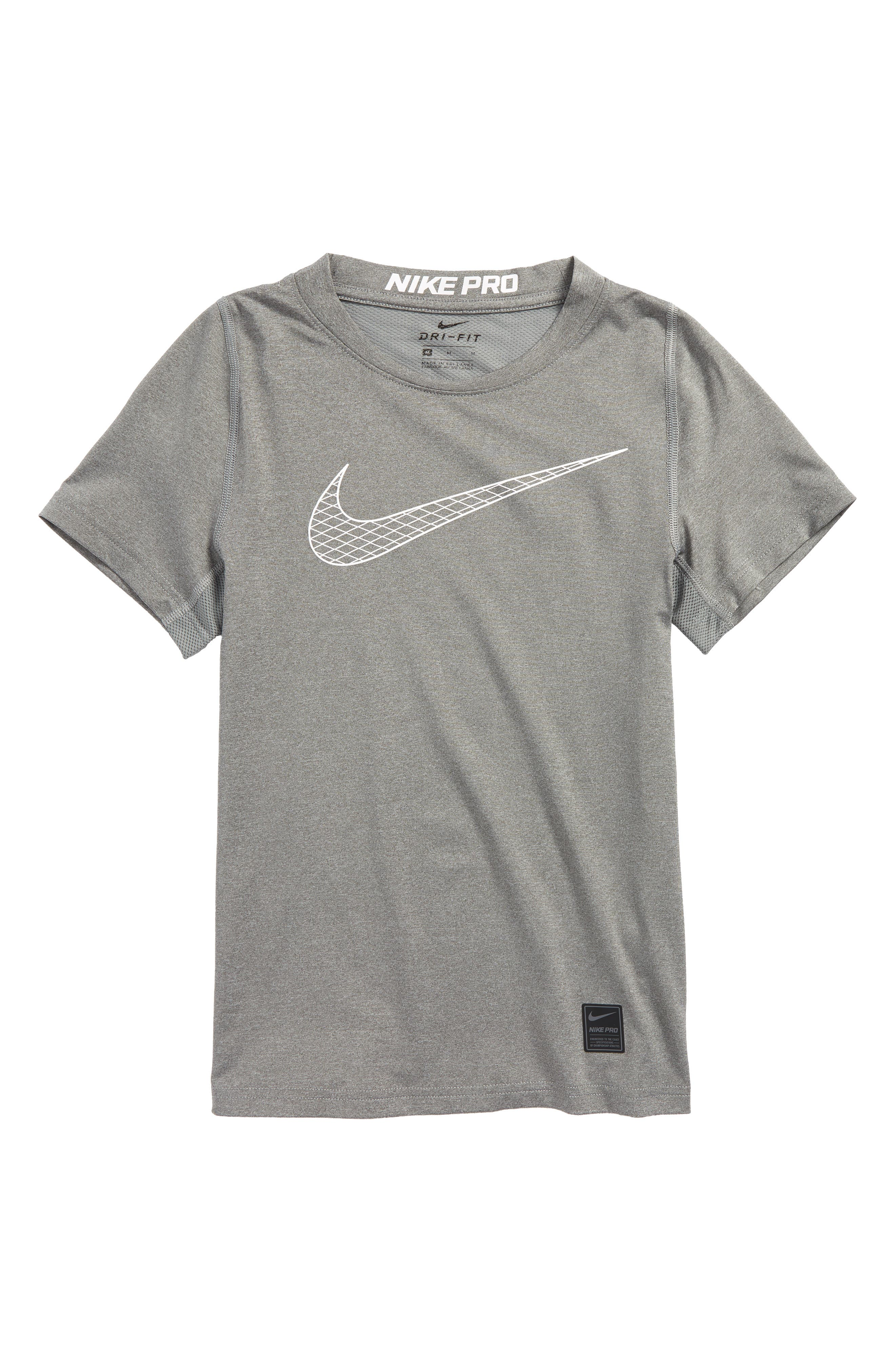Pro Fitted Training Top,                         Main,                         color, Carbon Heather/ White