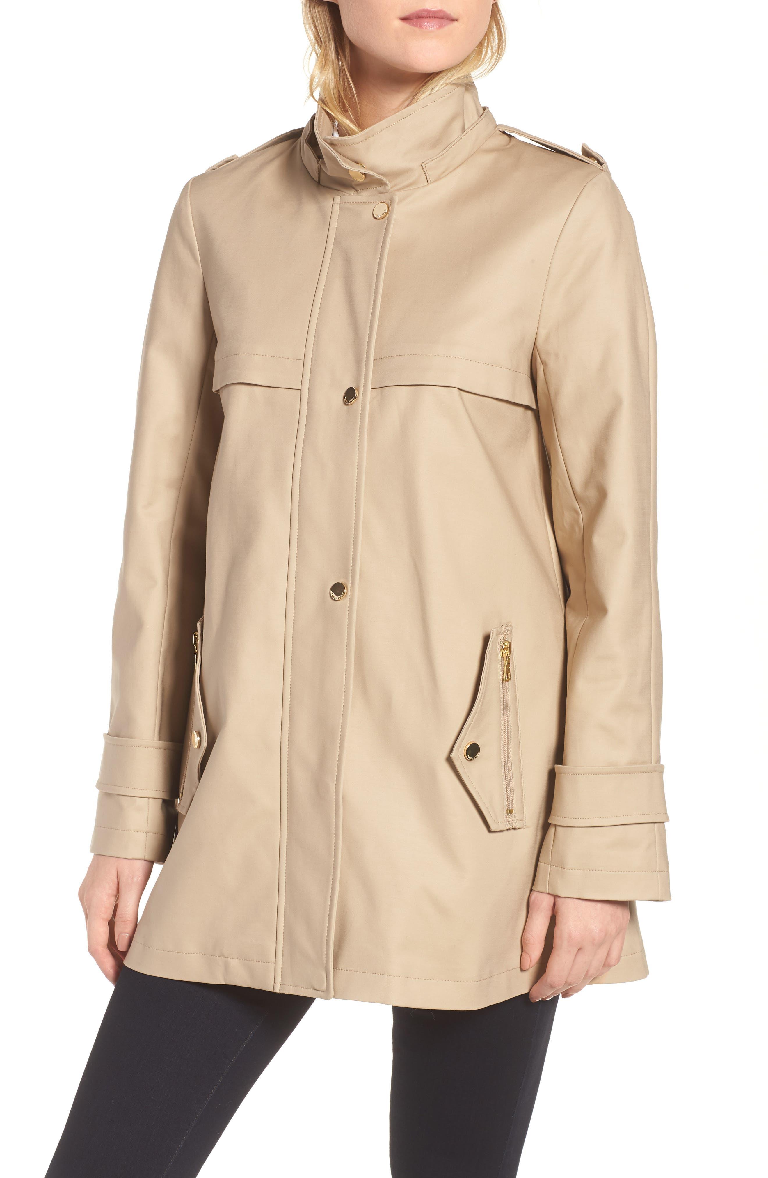 A-Line Rain Jacket,                             Alternate thumbnail 4, color,                             Khaki