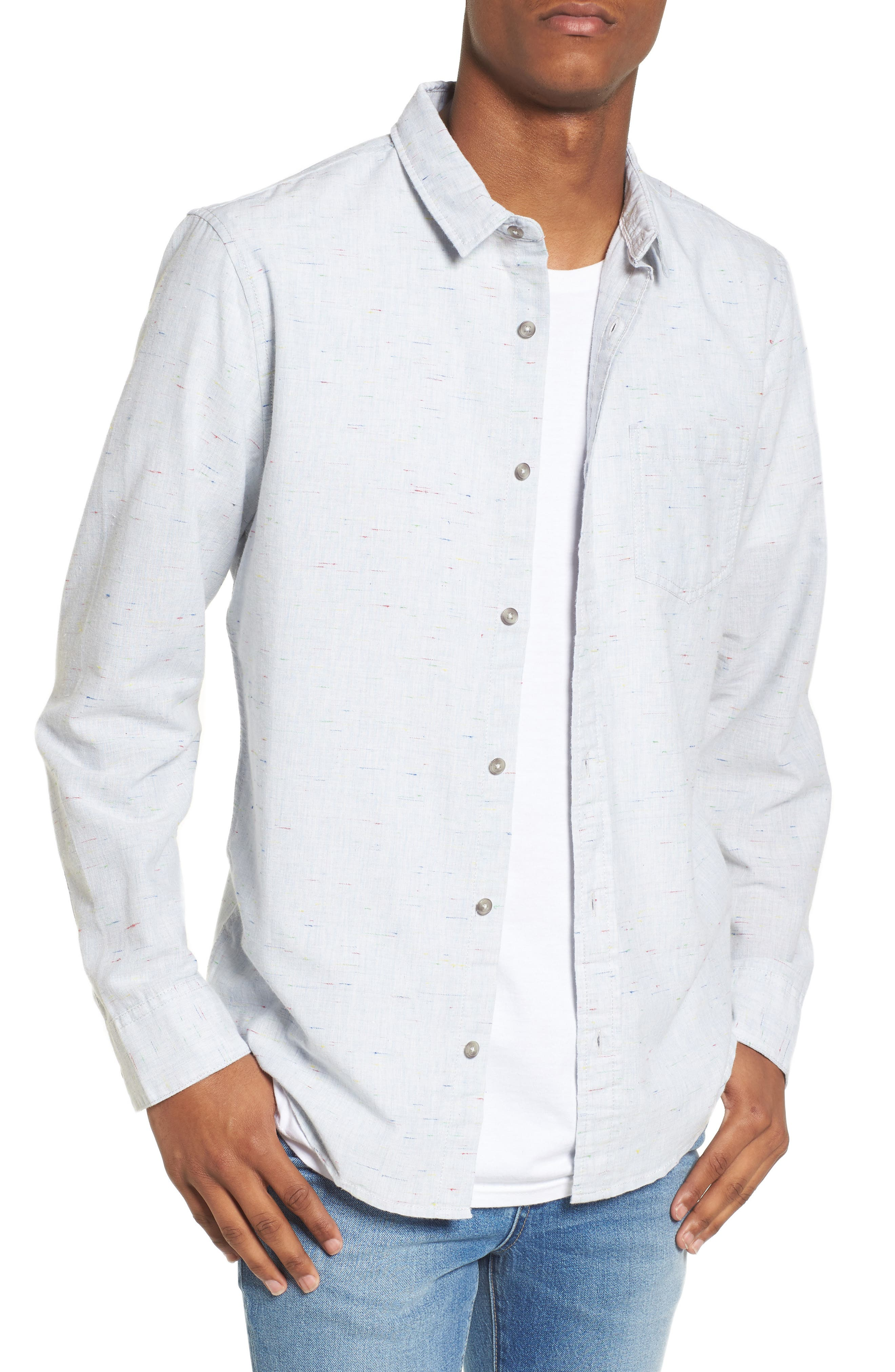 Long Sleeve Color Nep Shirt,                             Main thumbnail 1, color,                             Blue Chambray Multi Nep