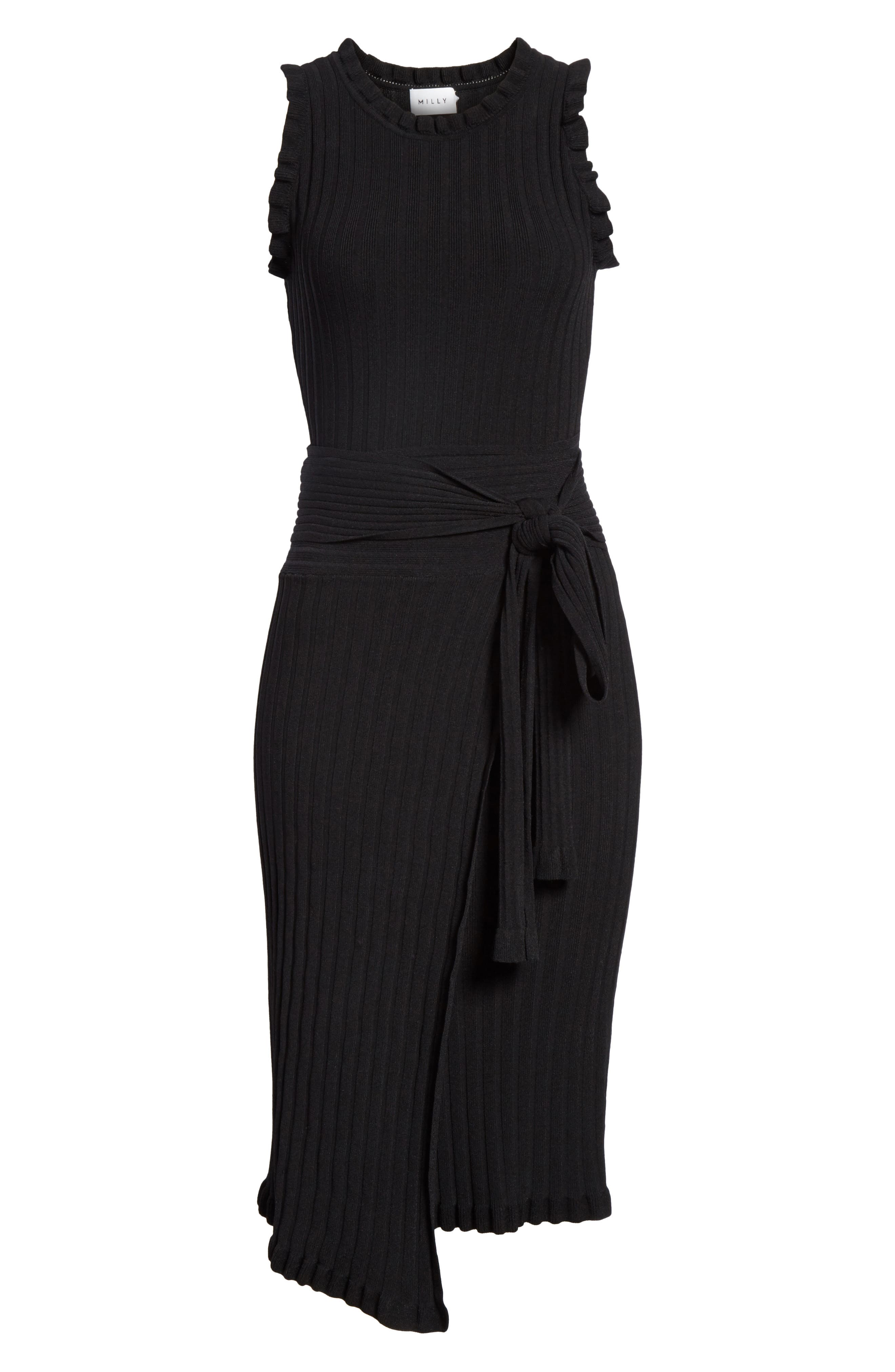 Ribbed Tie Waist Sweater Dress,                             Alternate thumbnail 6, color,                             Black