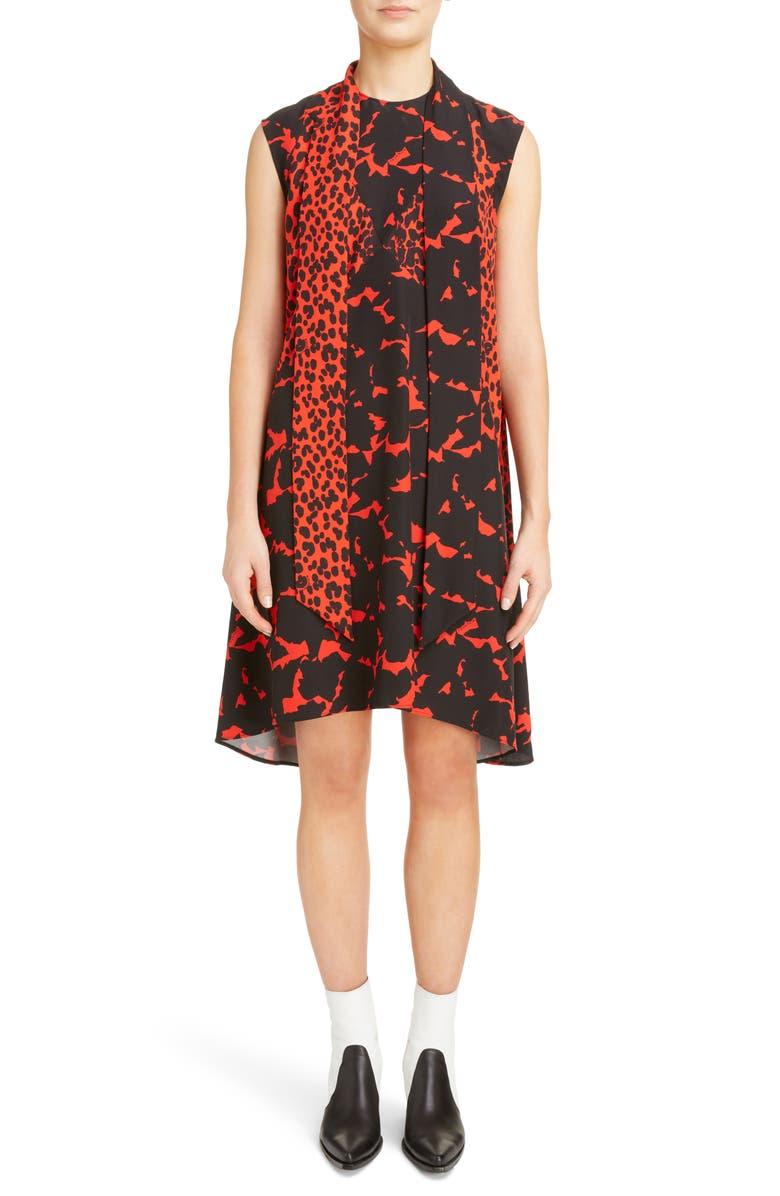 Mixed Print Silk Crepe Scarf Collar Trapeze Dress