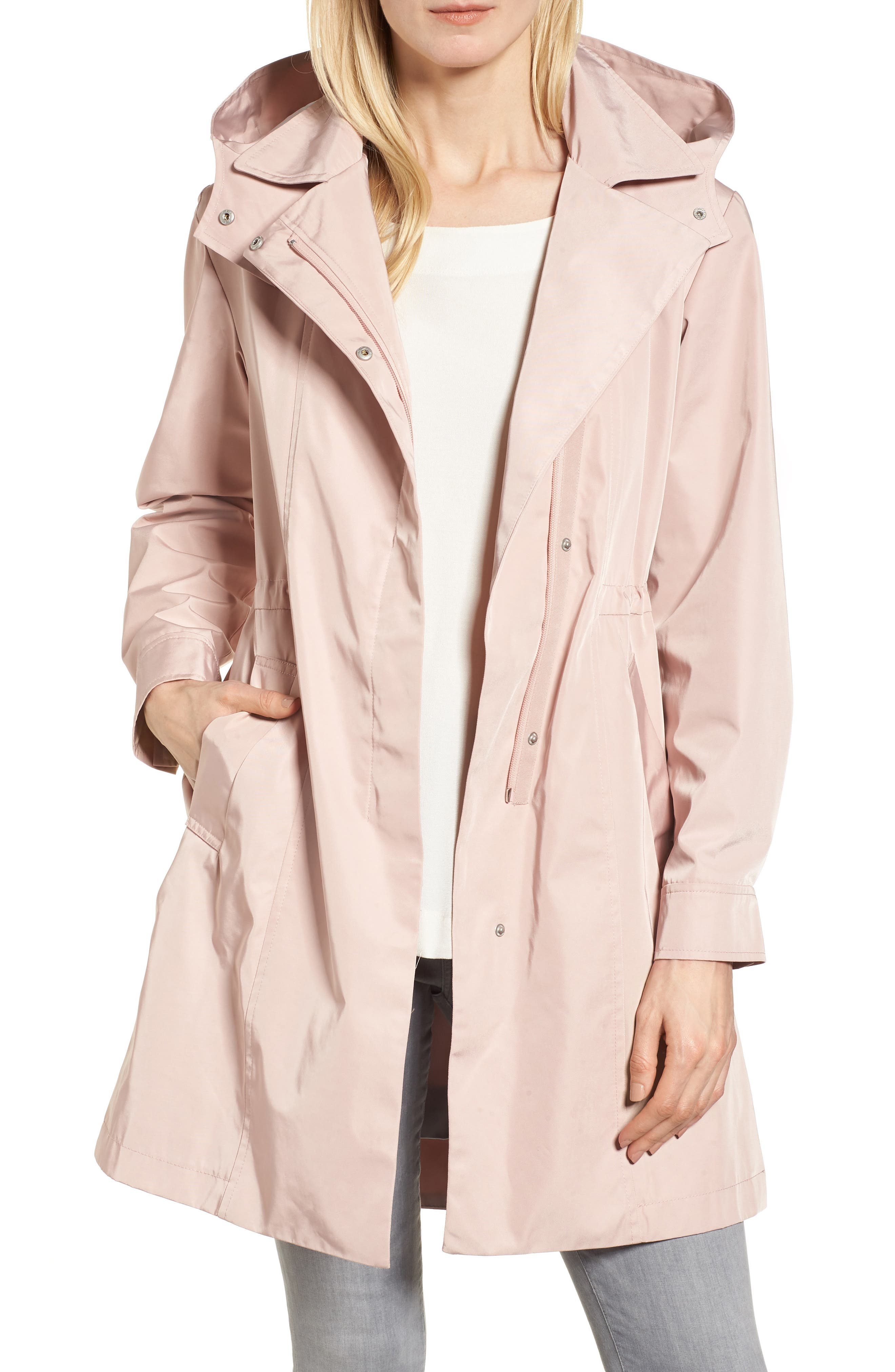 Tech Hooded Trench Coat,                         Main,                         color, Misty Rose