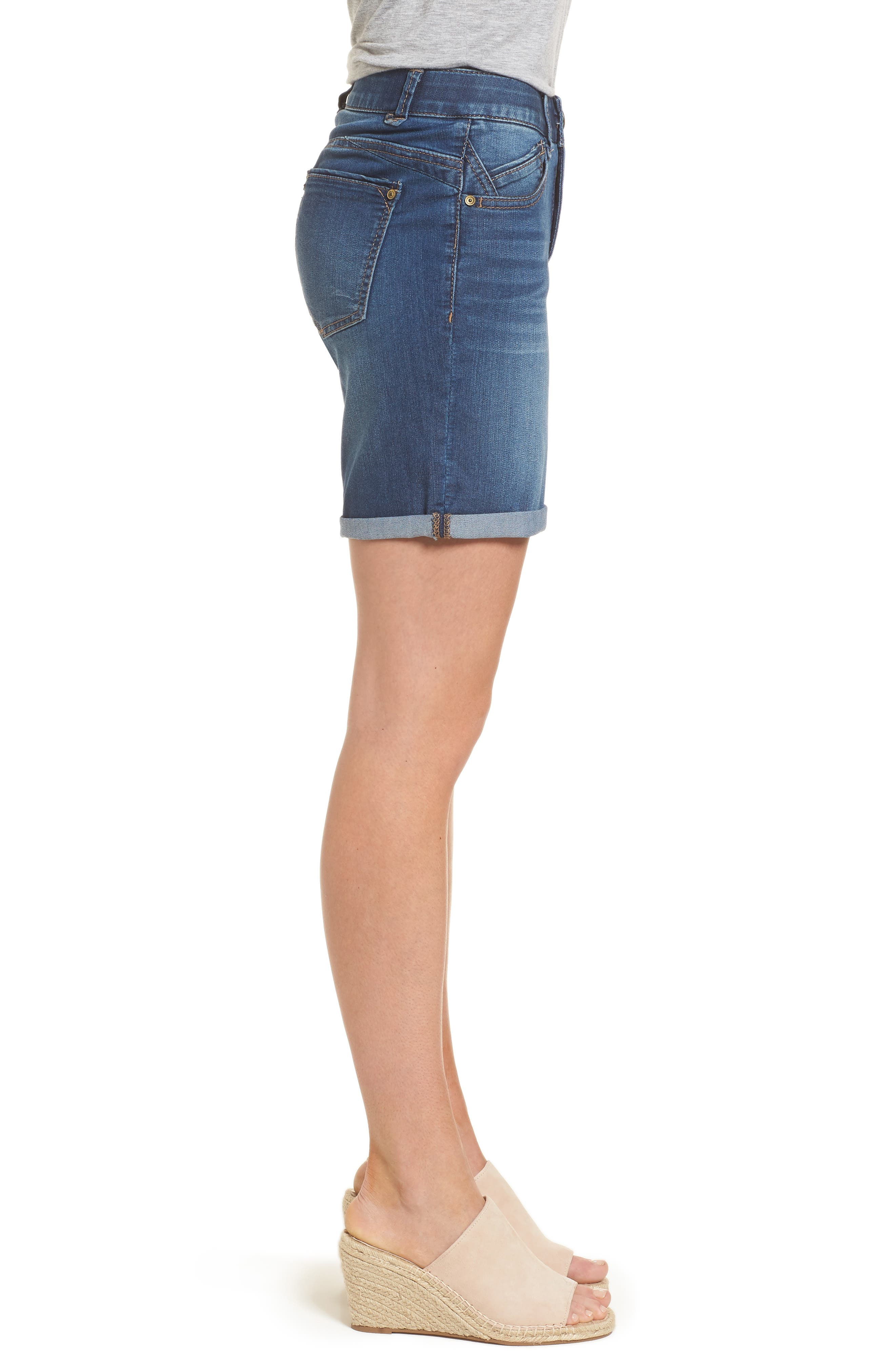 Ab-solution Cuffed Denim Shorts,                             Alternate thumbnail 3, color,                             Blue