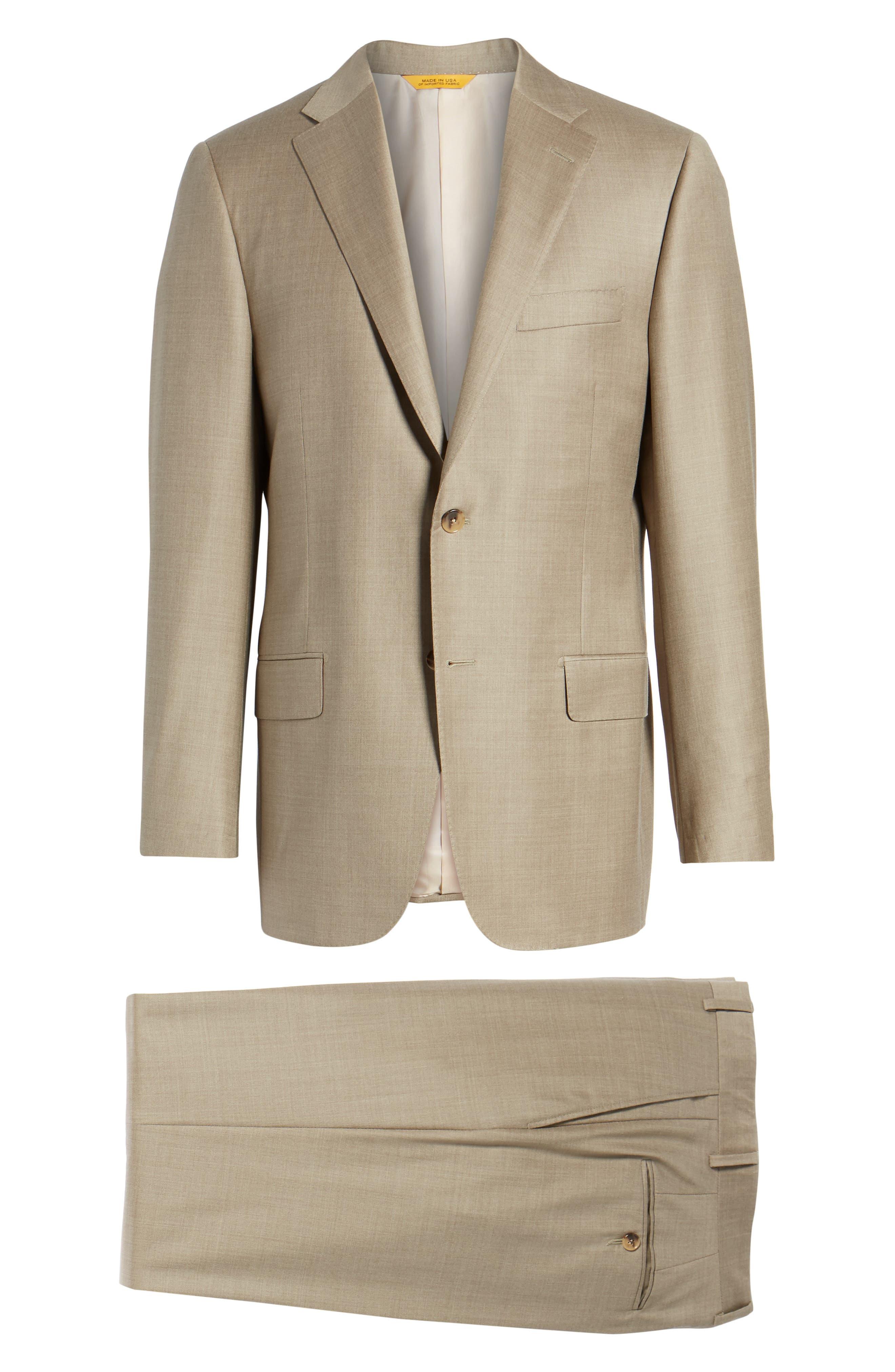 Classic B Fit Solid Wool Suit,                             Alternate thumbnail 7, color,                             Medium Beige