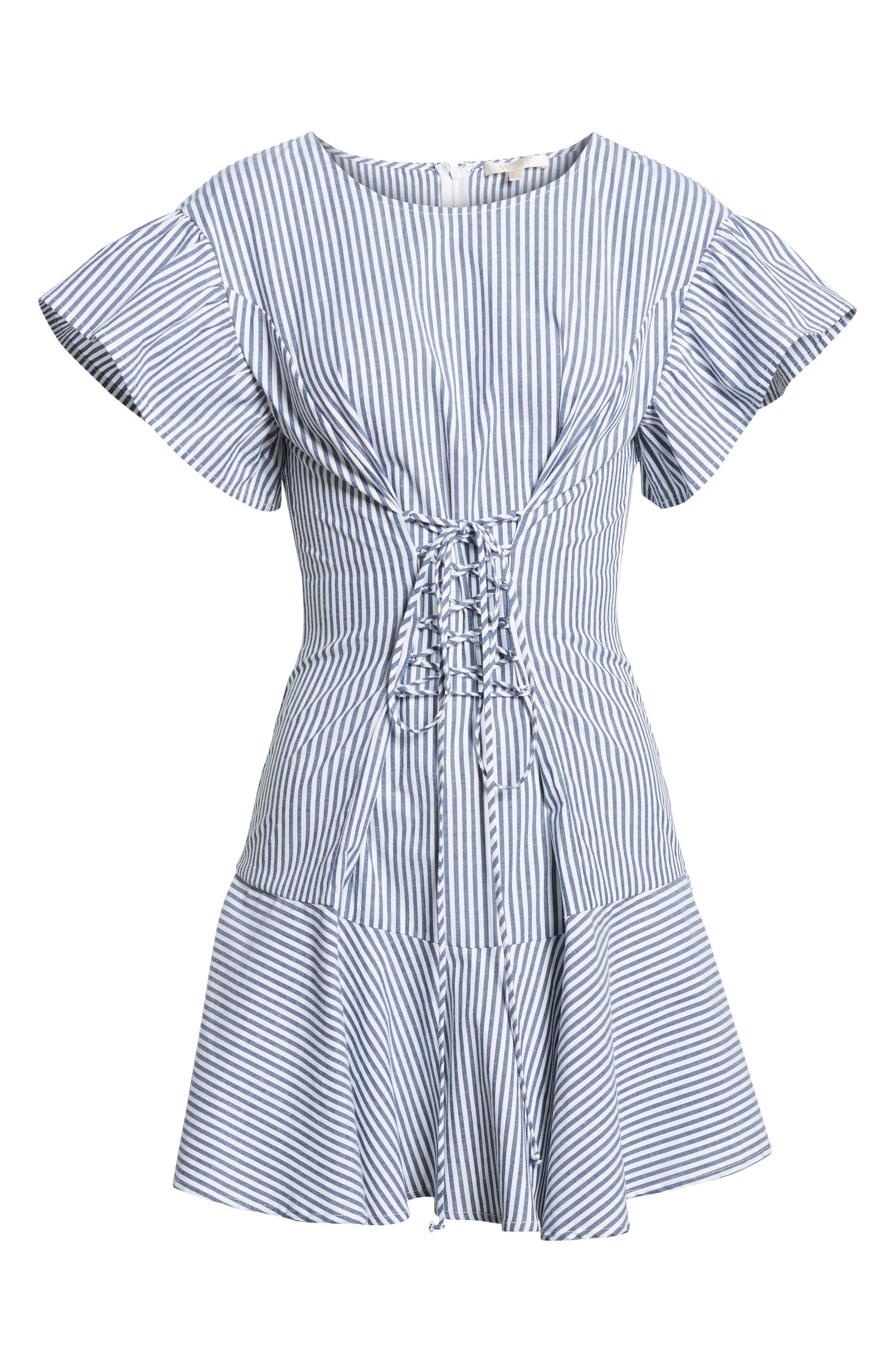 Lace-Up Minidress,                             Alternate thumbnail 6, color,                             Blue-White Stripe
