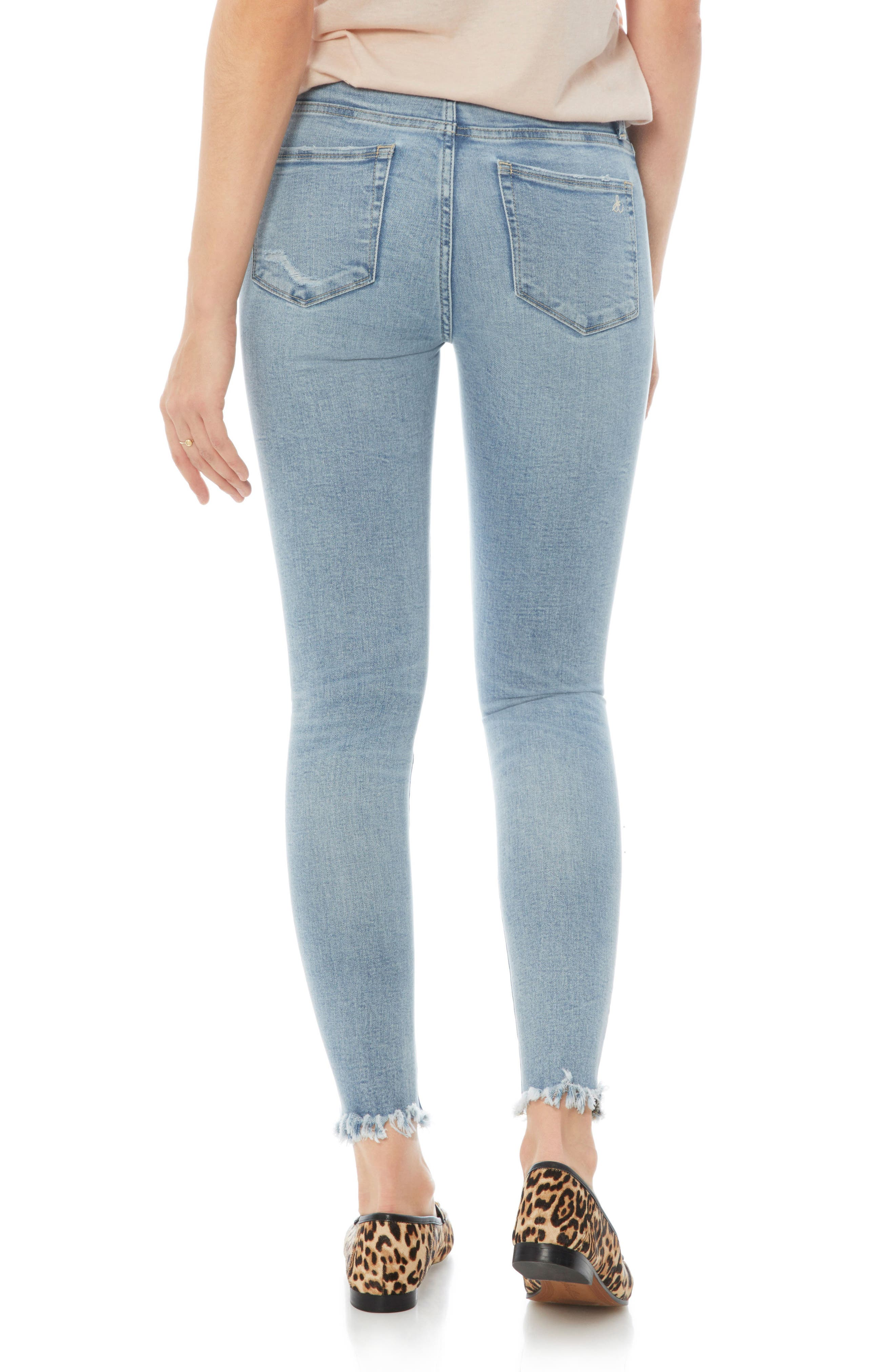 The Stiletto Ripped Fringe Jeans,                             Alternate thumbnail 2, color,                             Honor