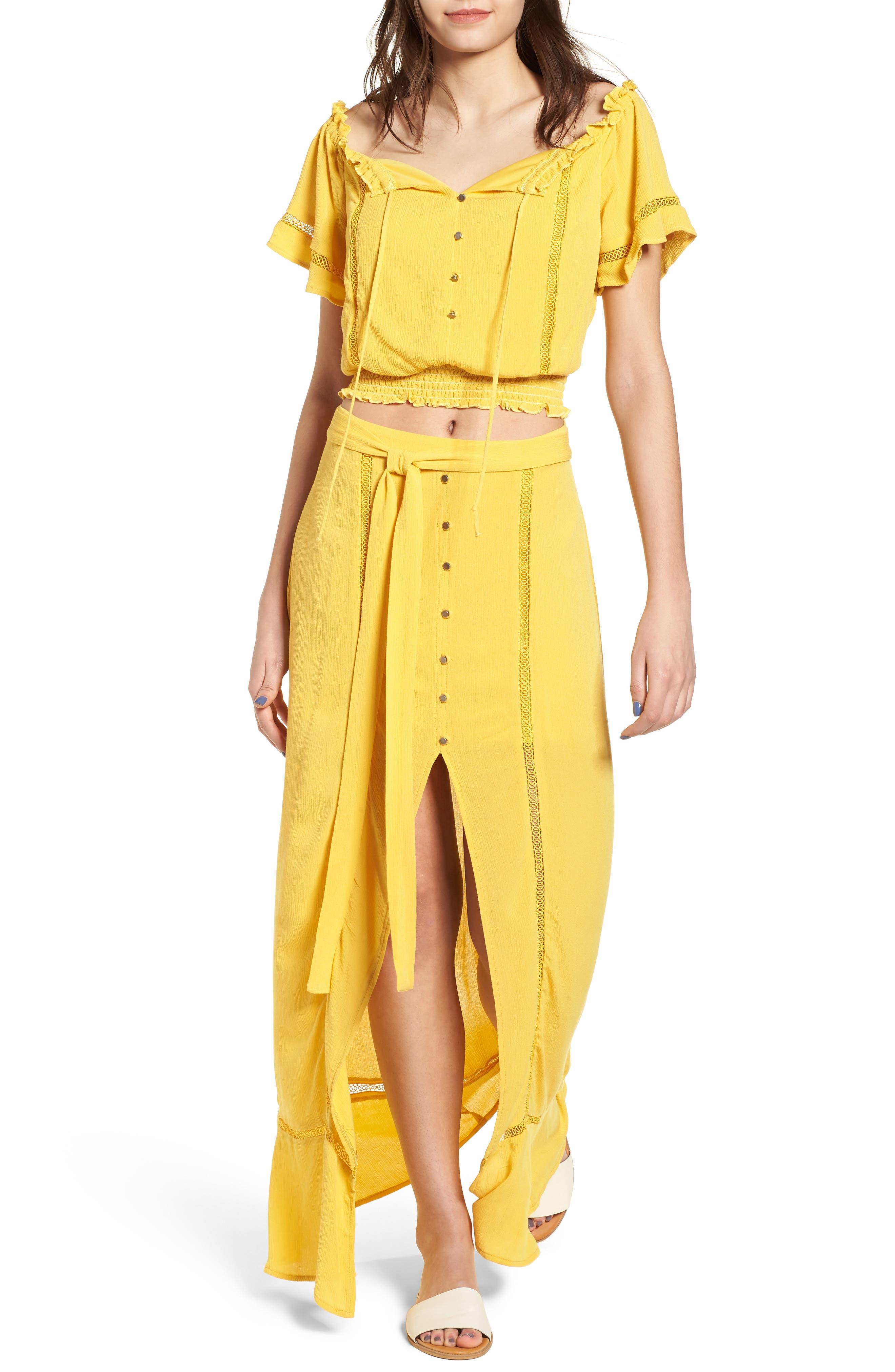 Slit Front Crochet Inset Maxi Skirt,                             Alternate thumbnail 2, color,                             Yellow Sulphur