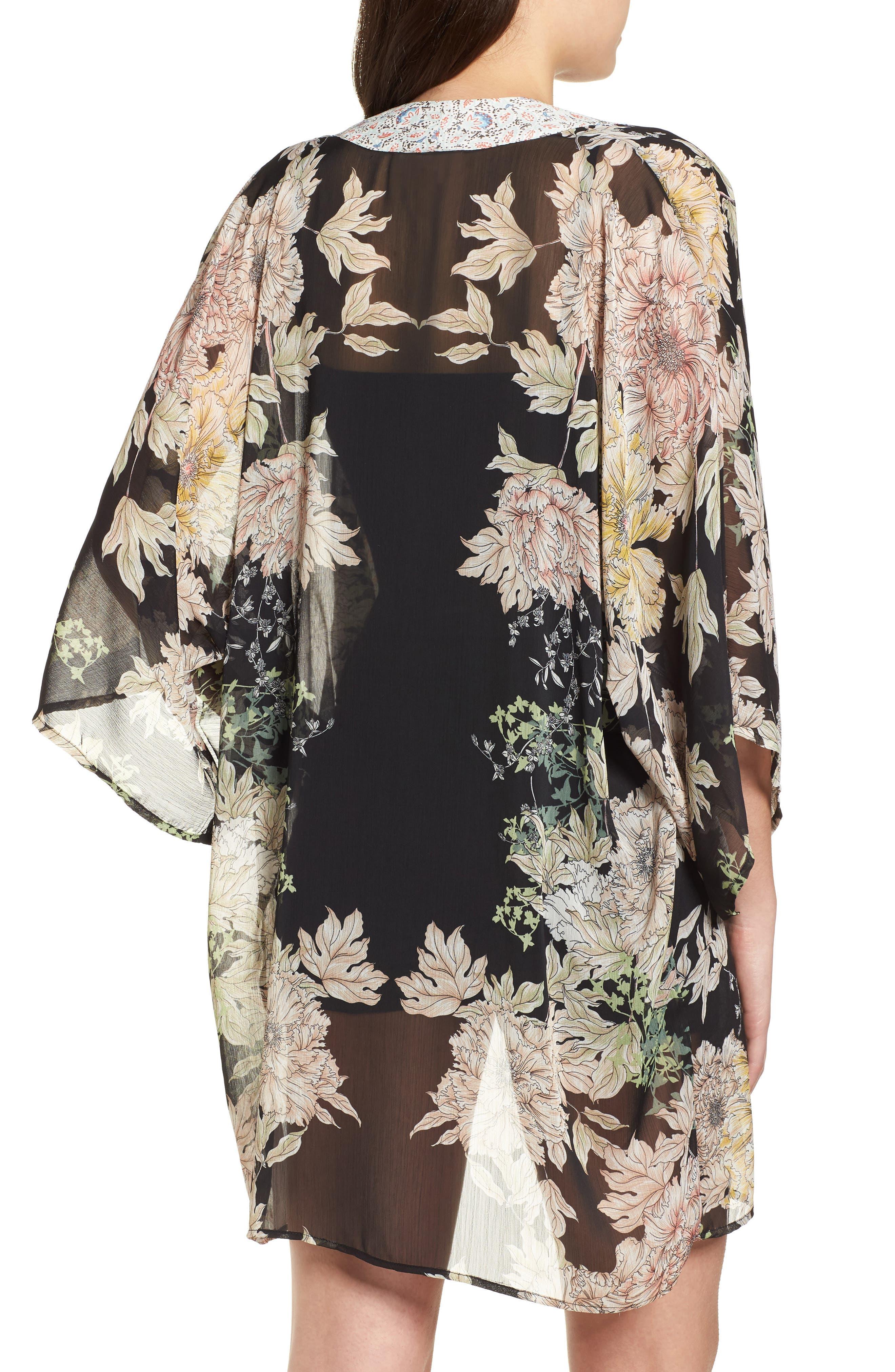 Floral Print Kimono,                             Alternate thumbnail 2, color,                             Black Gold Pink