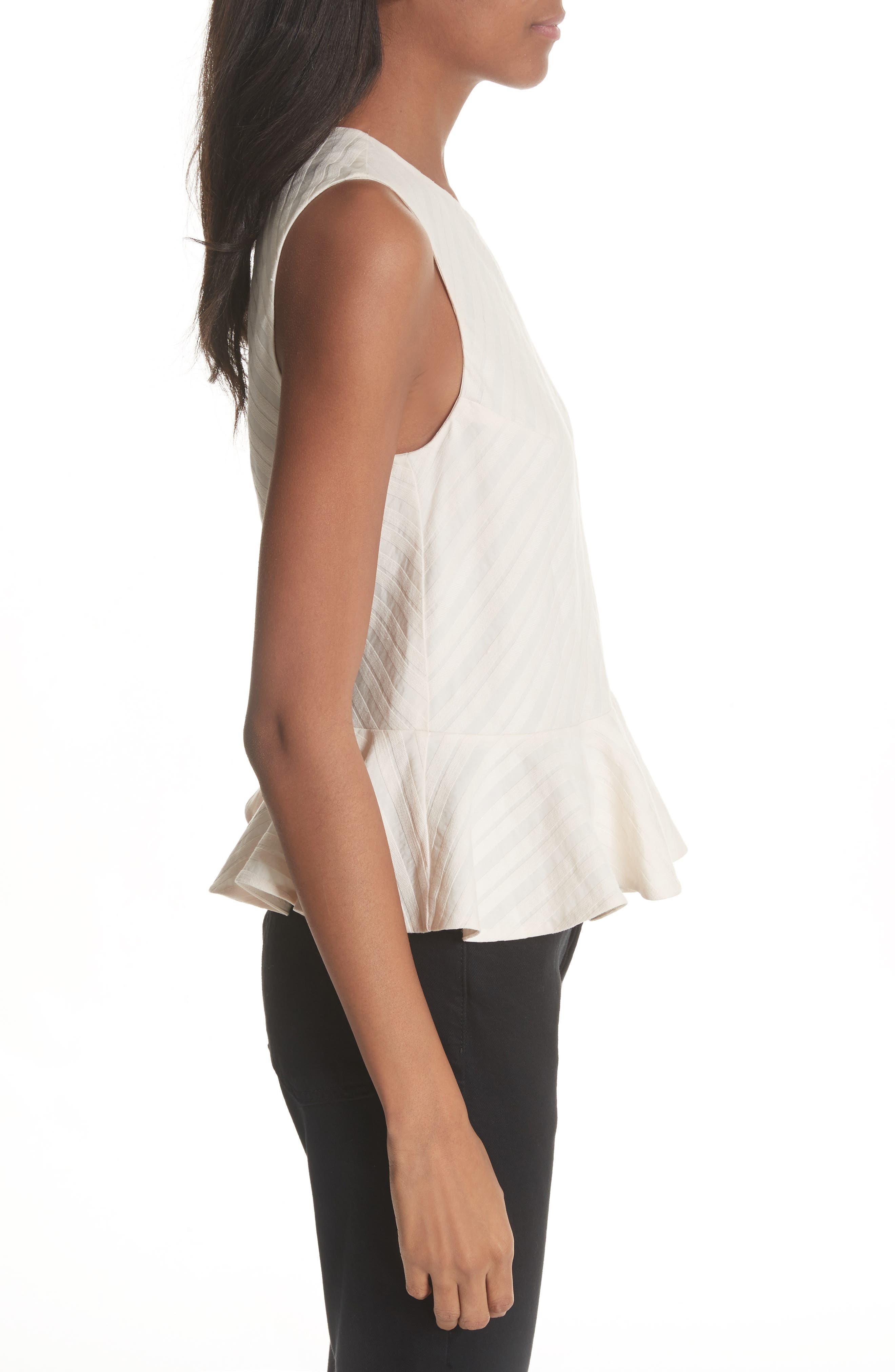 Textured Stripe Peplum Top,                             Alternate thumbnail 3, color,                             Creme Brulee