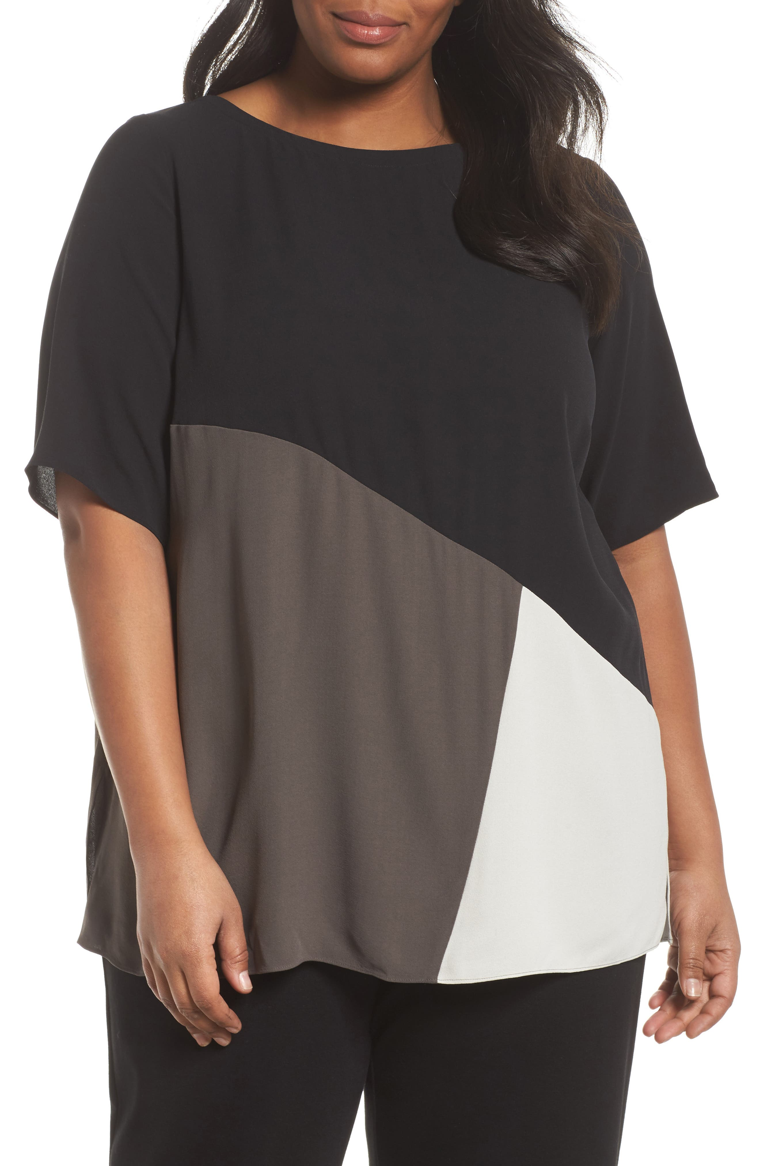 Alternate Image 1 Selected - Eileen Fisher Colorblock Silk Top (Plus Size)