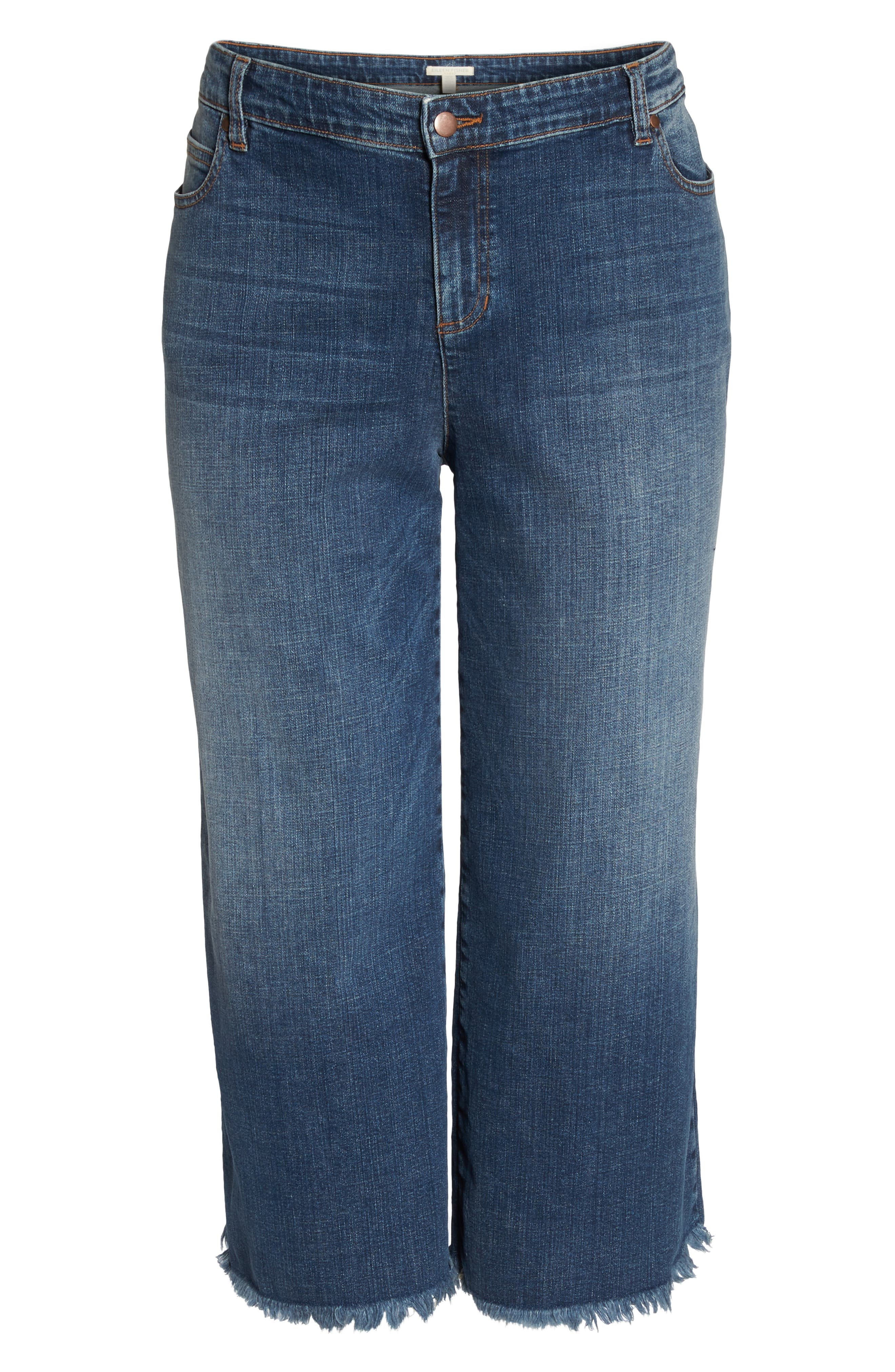 Wide Leg Ankle Jeans,                             Alternate thumbnail 7, color,                             Aged Indigo