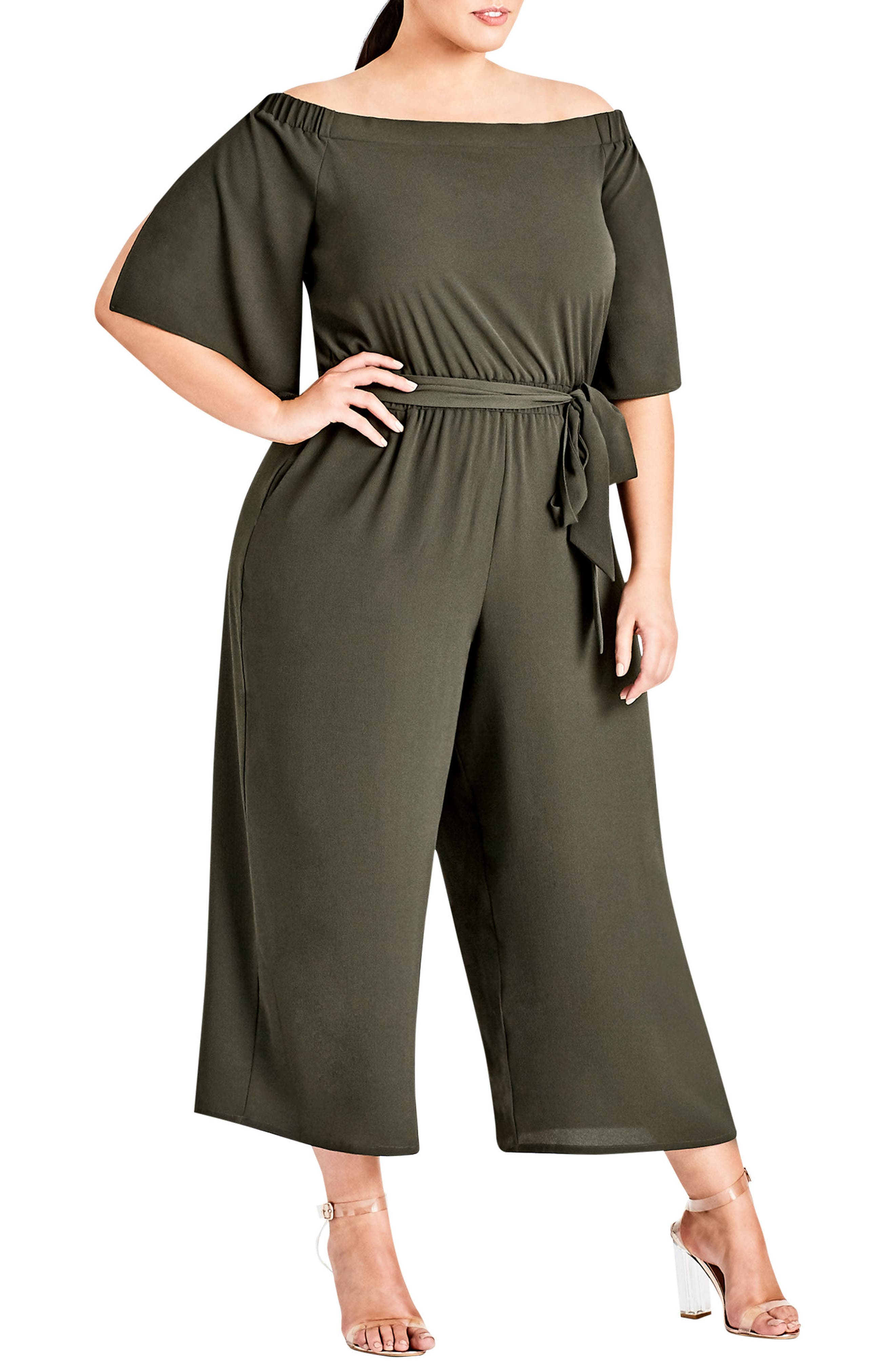 Off the Shoulder Jumpsuit,                         Main,                         color, Khaki Dark