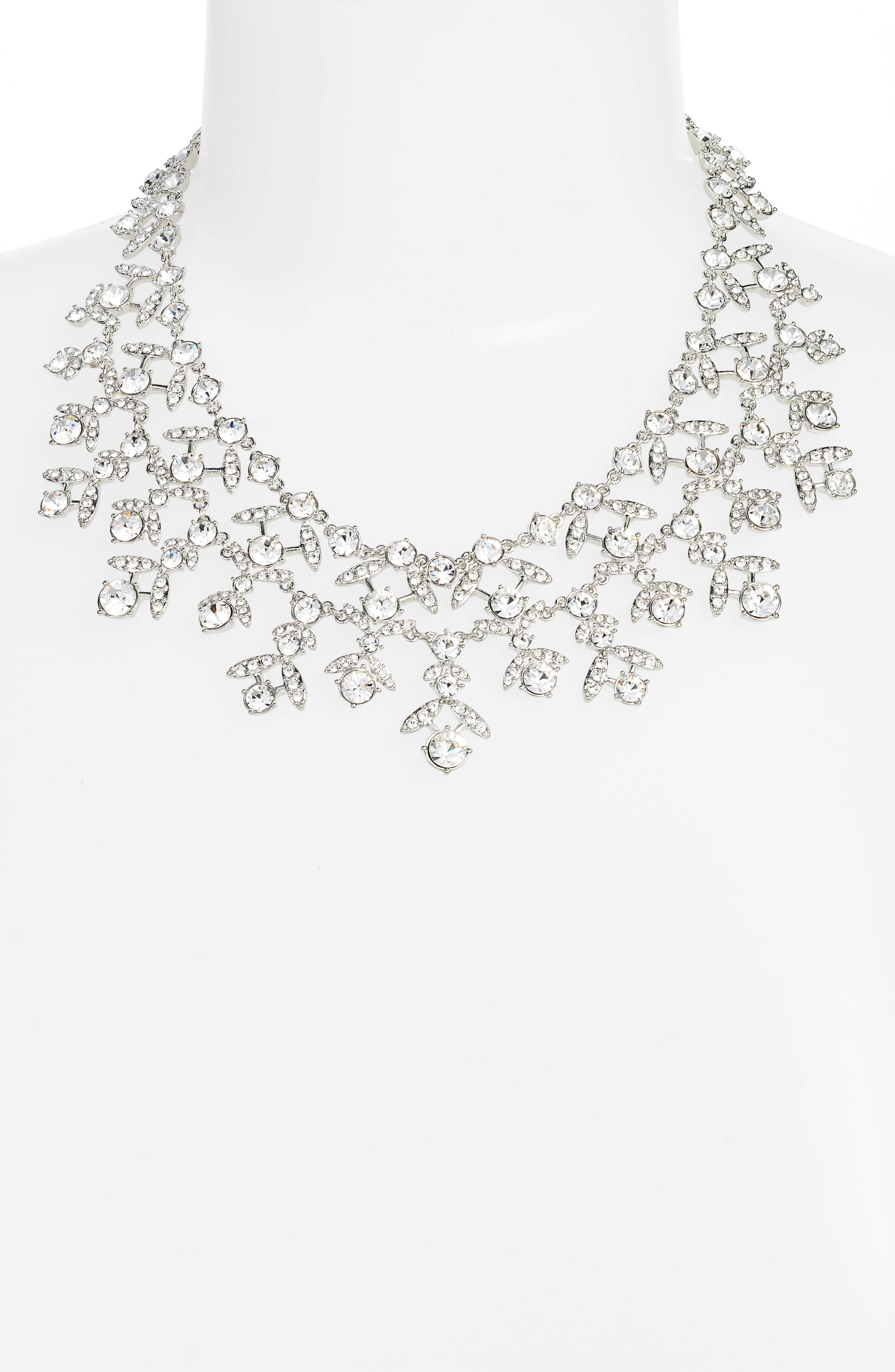 Crystal Collar Necklace,                             Alternate thumbnail 2, color,                             Silver/ Crystal